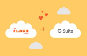 The Cloud Peoples logo og G Suite-logoen med hjerter imellom.