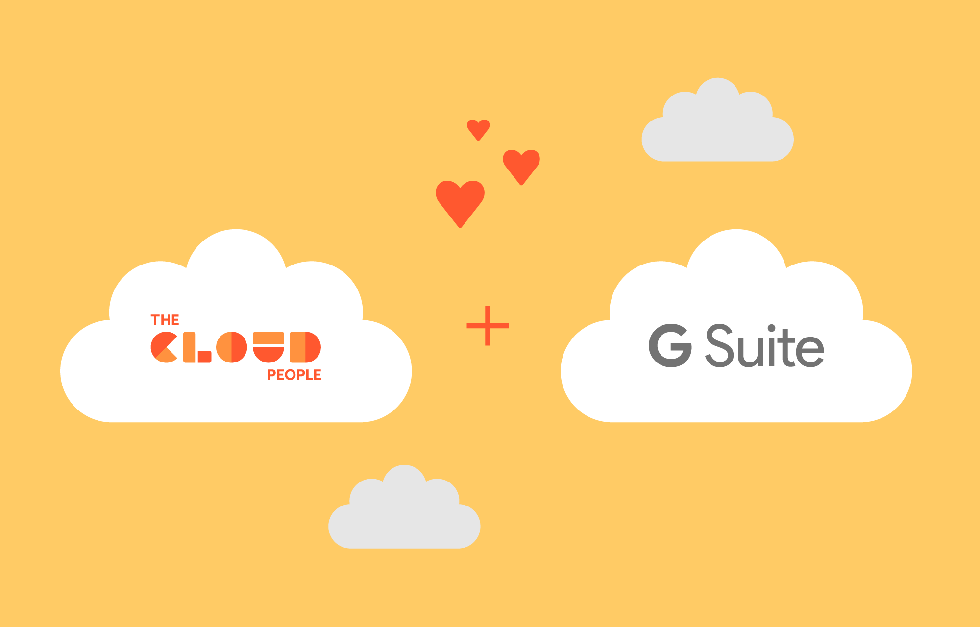 The Cloud People logo and G Suite logo with hearts between them.