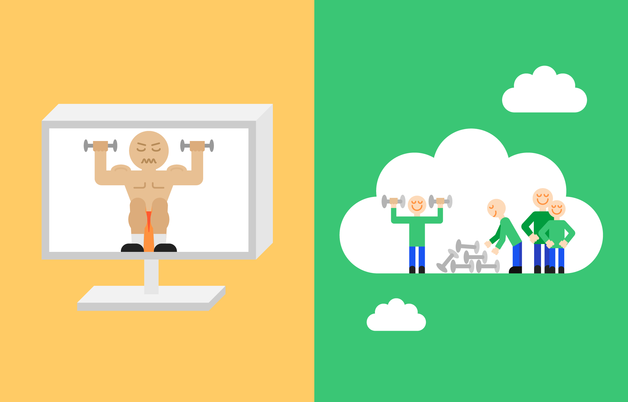 Muscular man lifting tiny weights inside computer, versus four regular guys lifting properly sized weights inside a cloud.