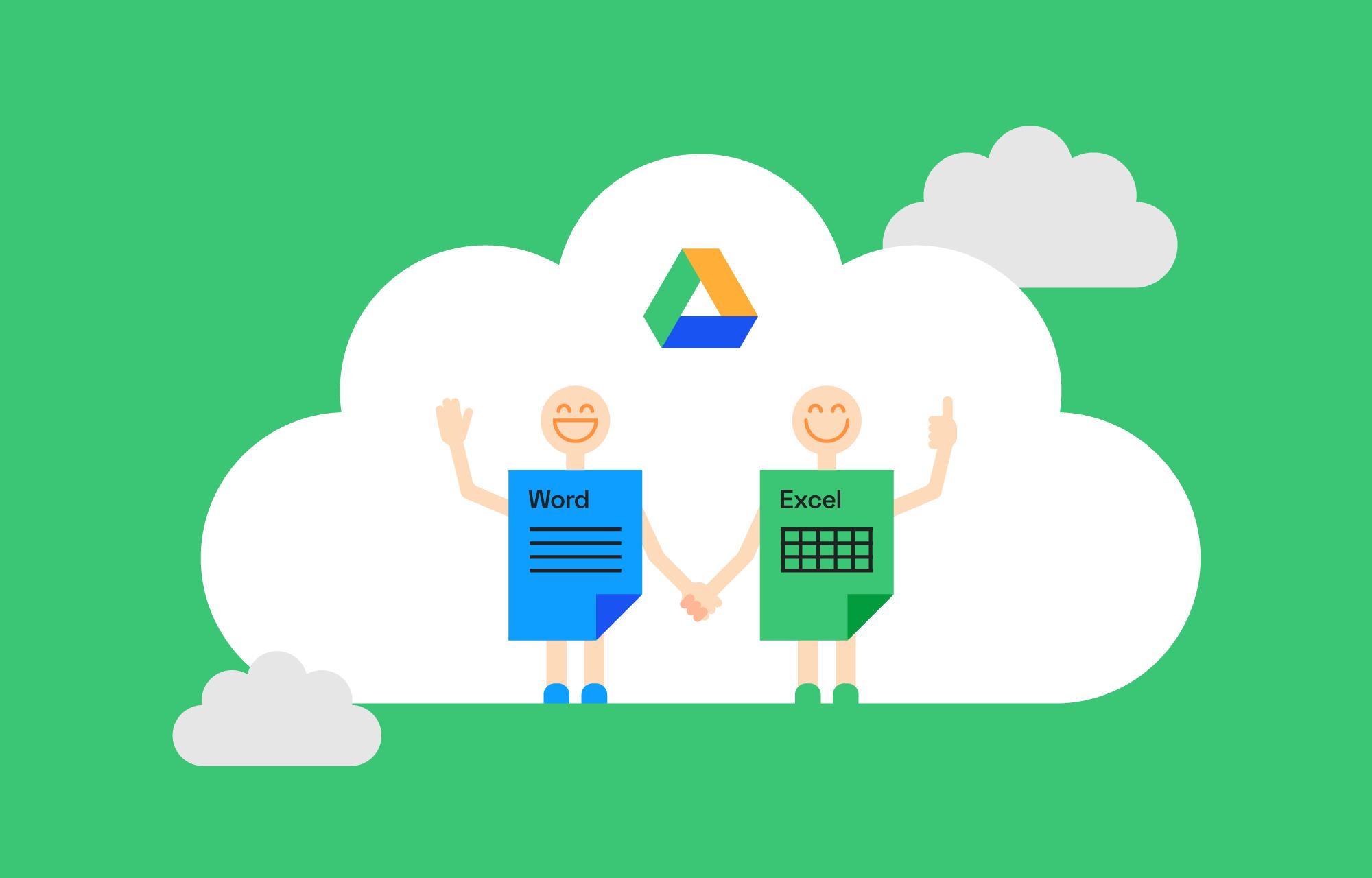 Word og Excel illustrert som mennesker som holder hender i en Google Disk-sky.
