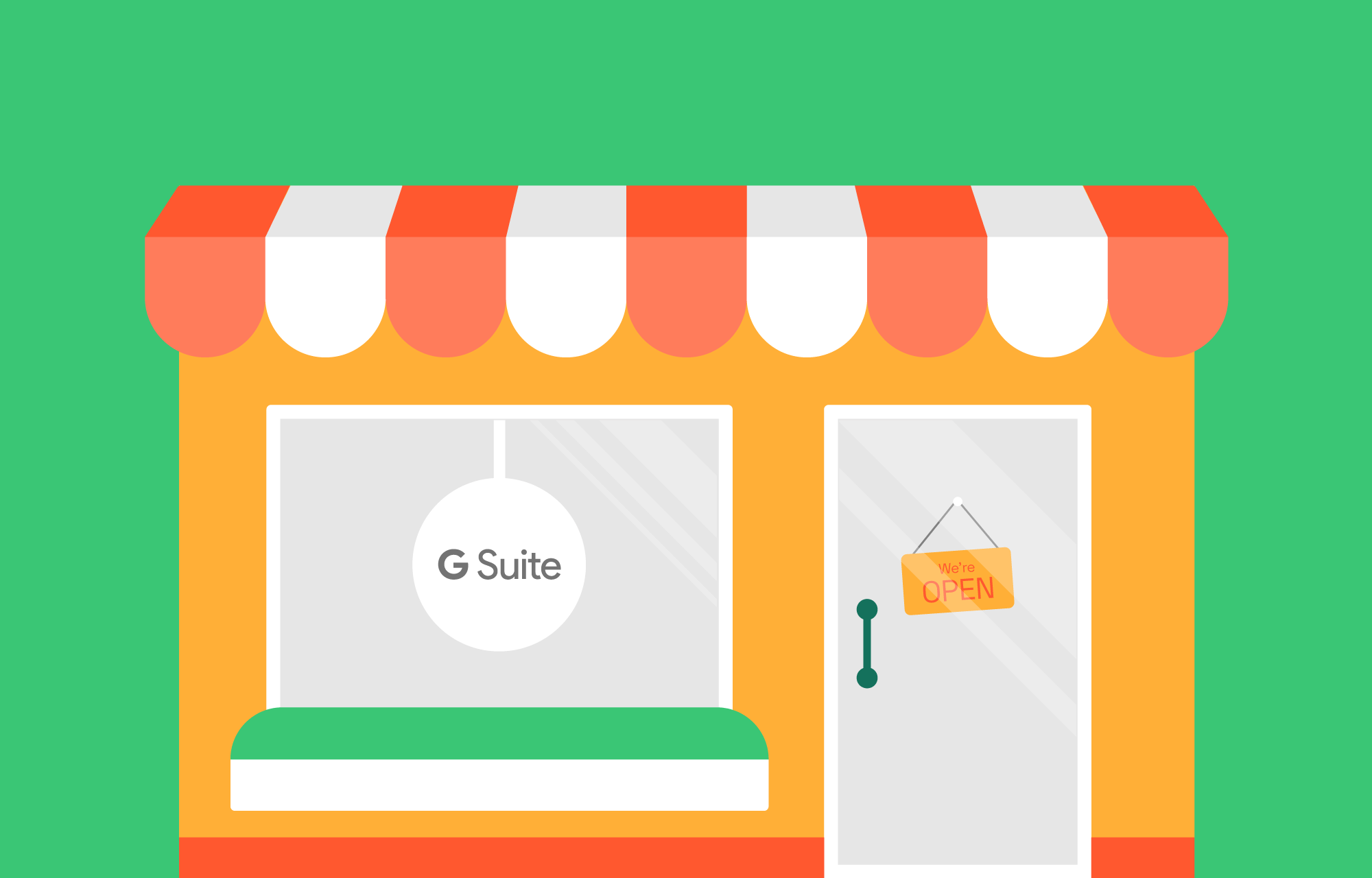 G Suite logo in a resellers shopping window.