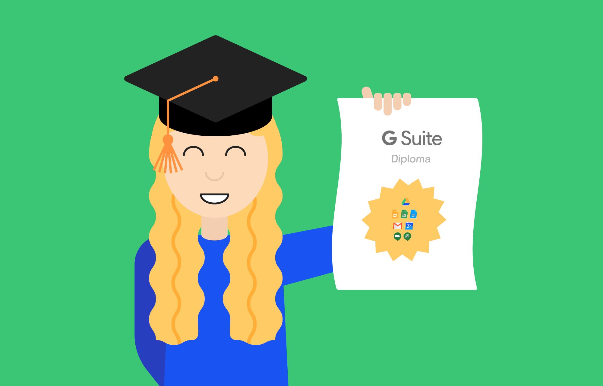 Kvinnelig student holder opp diplom for bestått G Suite-kurs.