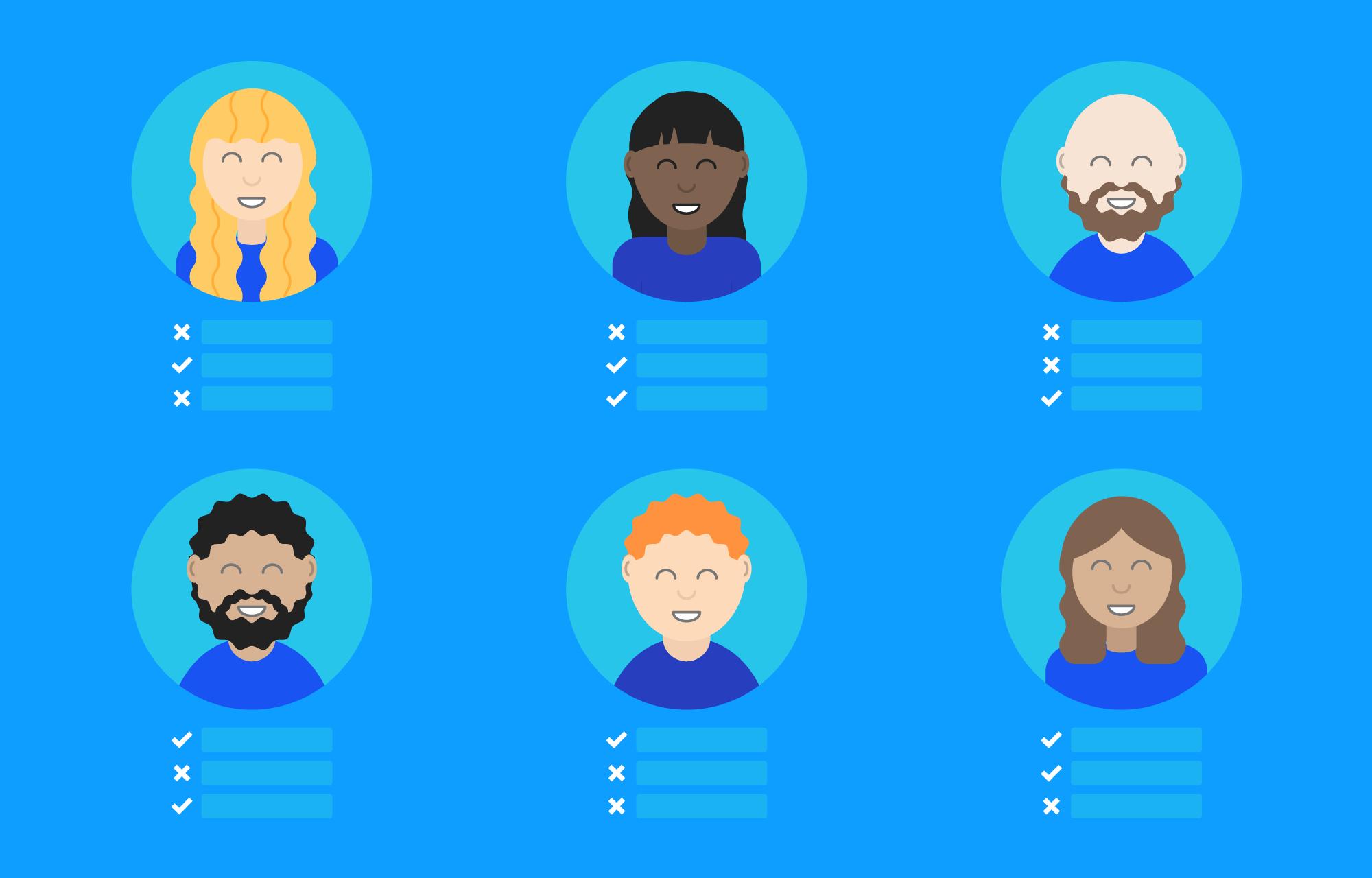 Illustrasjon av seks profilbilder av konsulenter, med checkmark eller kryss foran ulike egenskaper.
