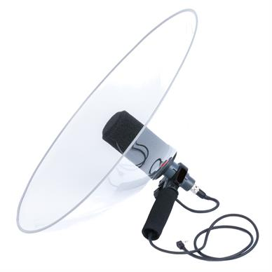 Pro-X V2 foldable dish by Telinga, to demonstrate a parabolic microphone set-up.