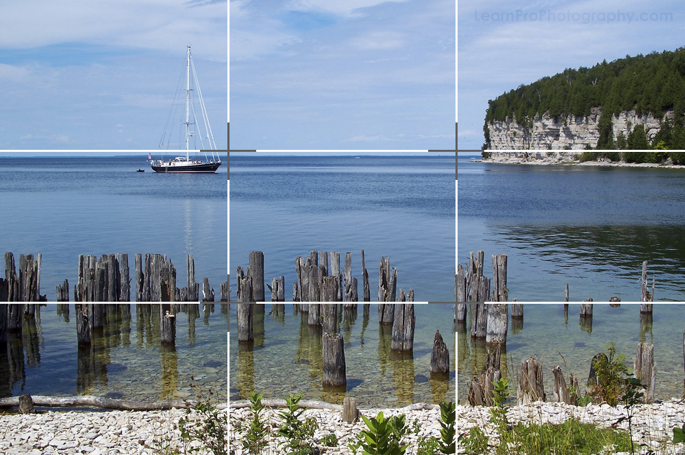 Example of the rule of thirds in landscape photography.