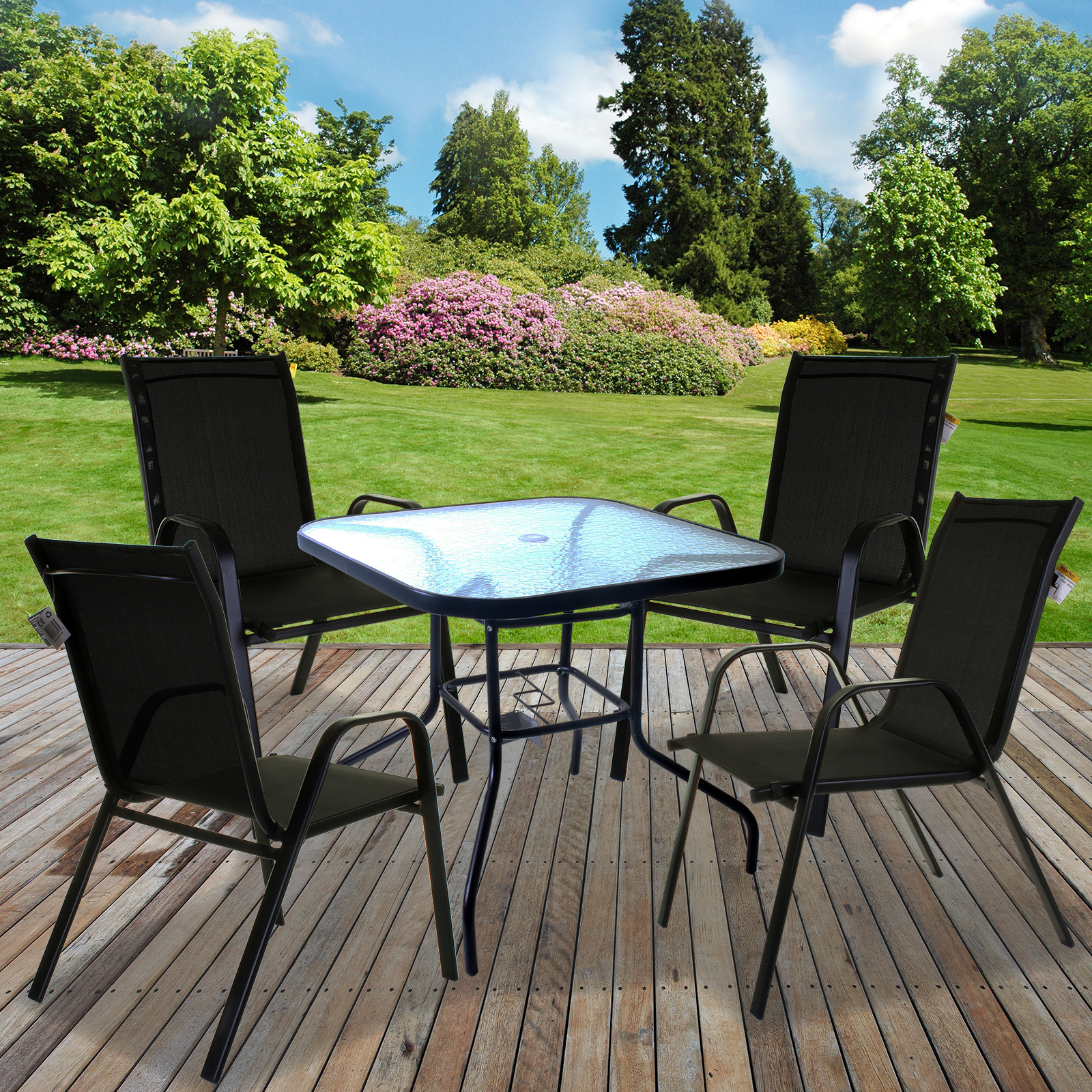 Details about OUTDOOR GARDEN PATIO FURNITURE SETS GLASS TABLES STACKING  CHAIRS PARASOL BASE