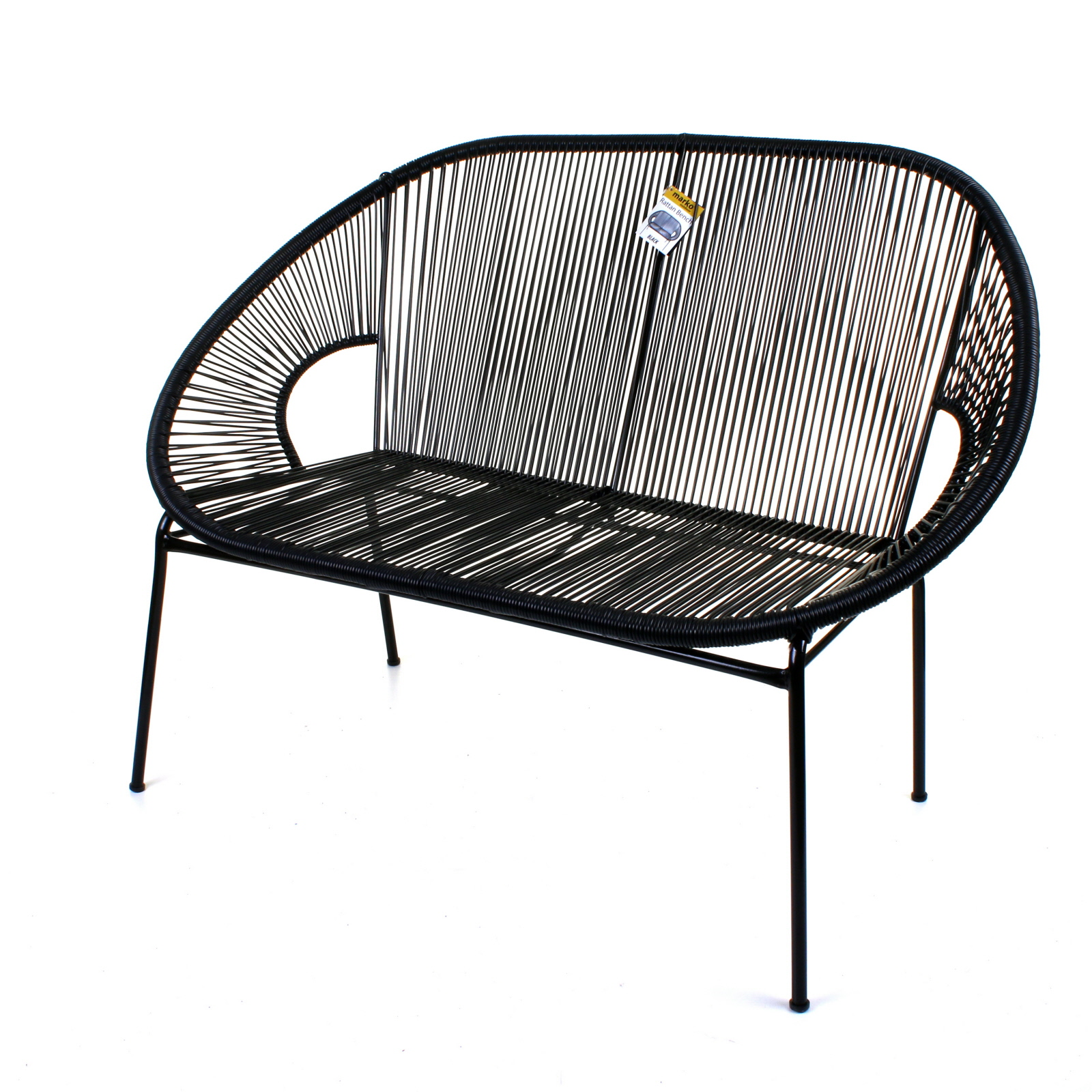 String Rattan 2 Seater Bench Sofa Moon Love Seat Indoor ...