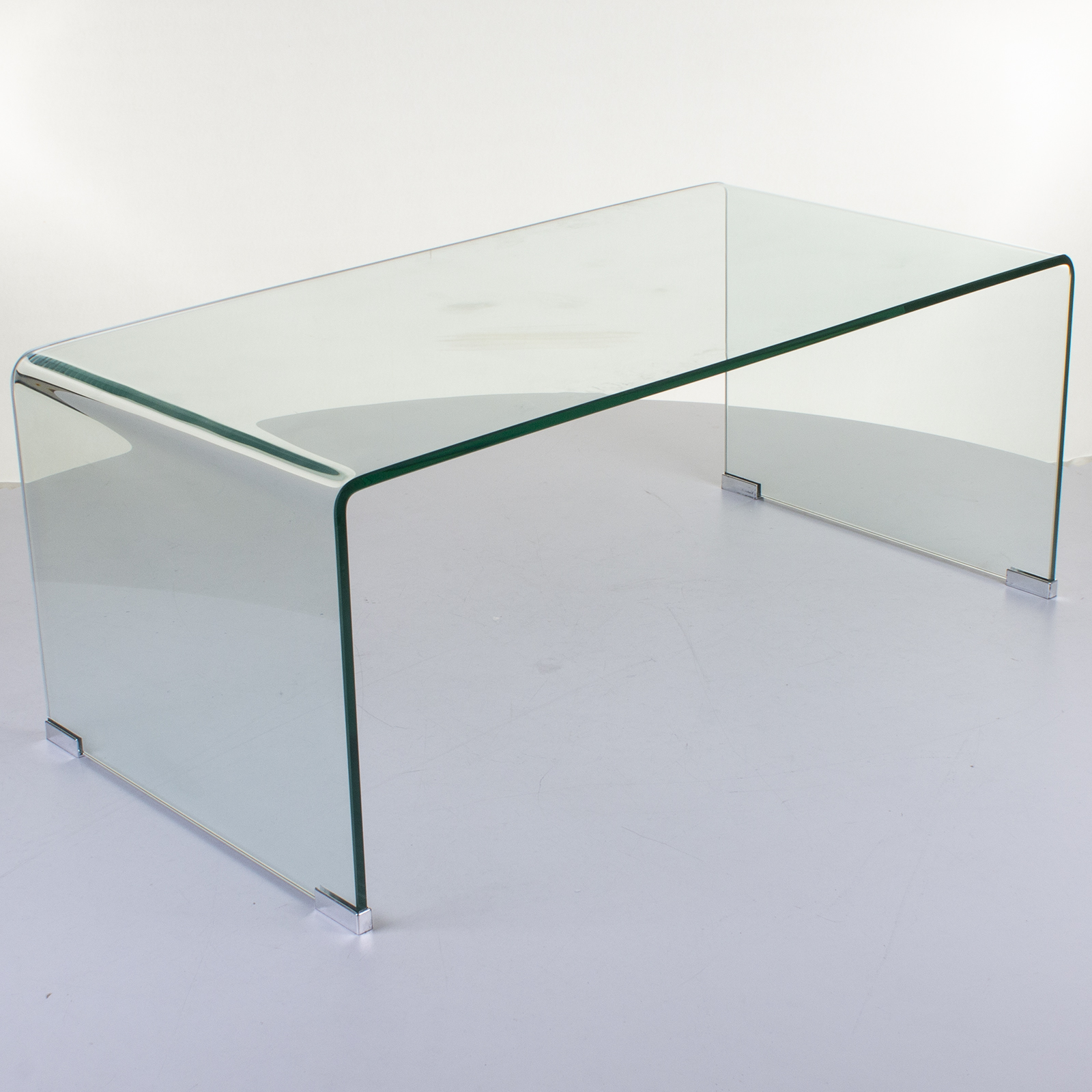 Large Curved Glass Coffee Table Bent Transparent Tempered Dining