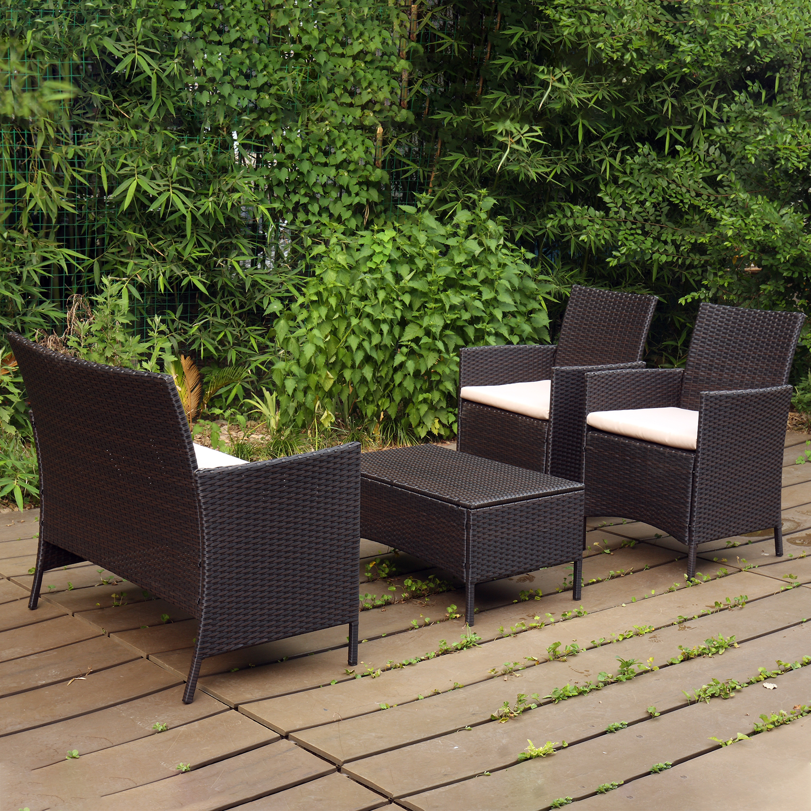 Details about 10PC RATTAN GARDEN FURNITURE SET SOFA ARMCHAIRS GLASS COFFEE  TABLE OUTDOOR PATIO