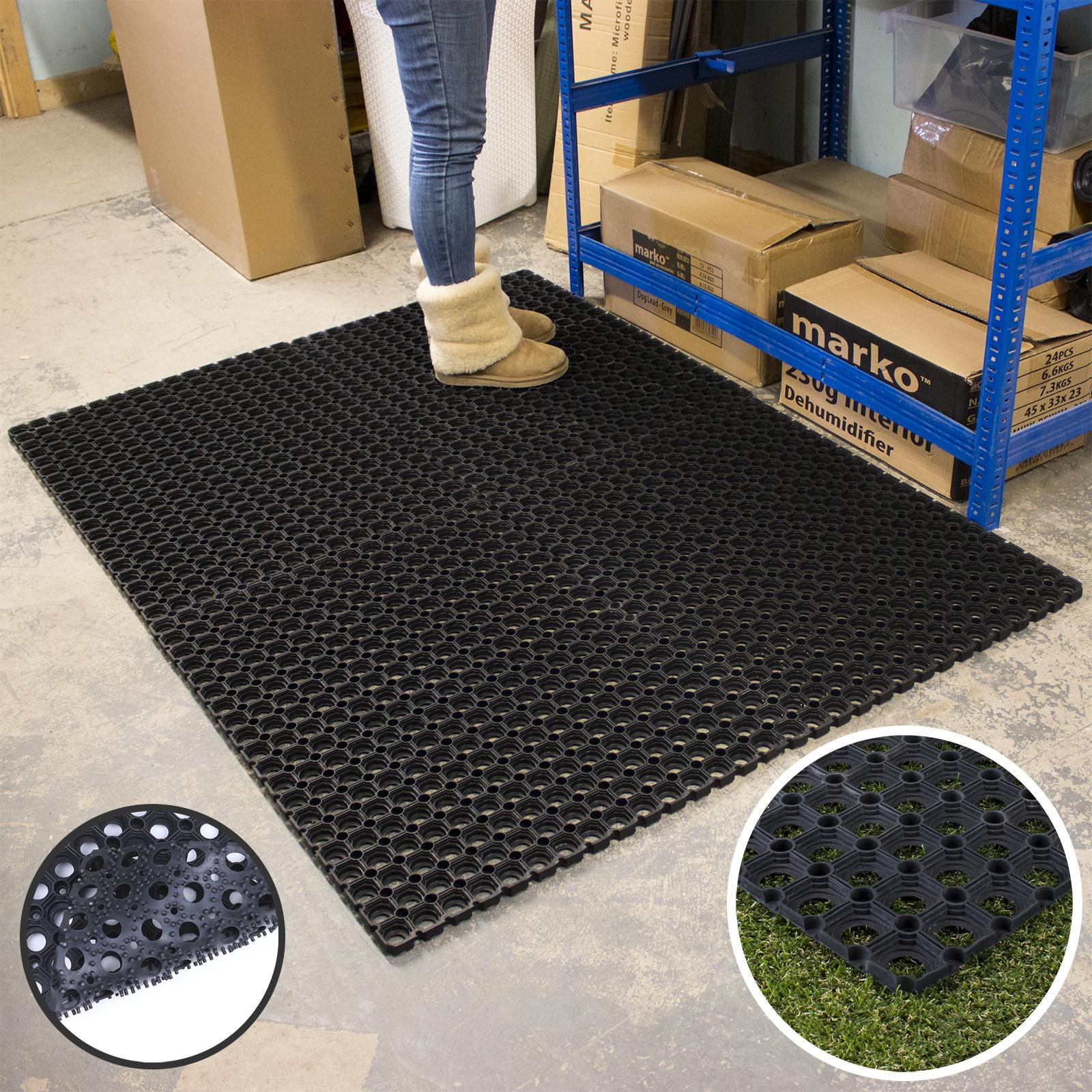 Heavy Duty Floor Mats >> Details About 1m X 1 5m Rubber Ring Doormat Large Heavy Duty Floor Mat Outdoor Indoor Stable
