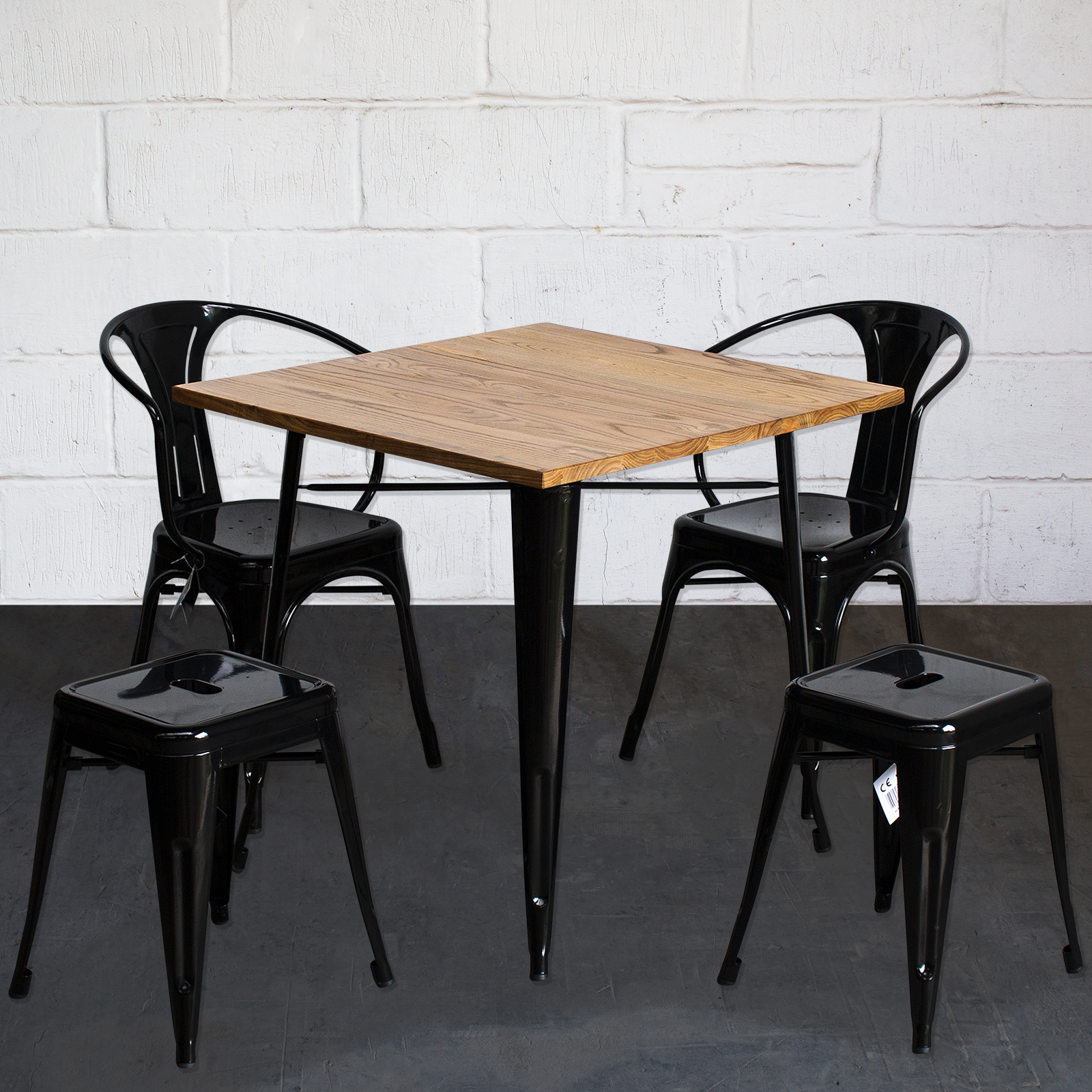 3PC 5PC Square Dining Table Chair Sets Black Metal Light Wood