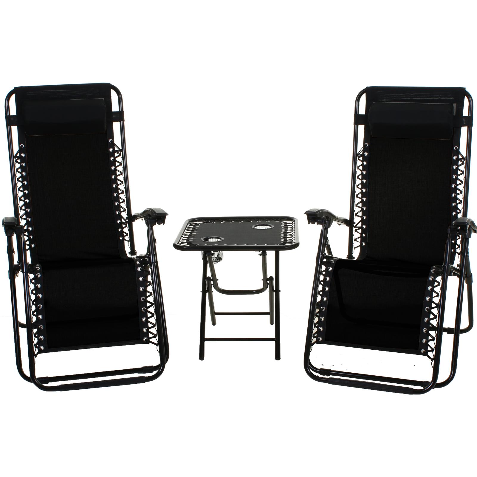 Picture of: Reclining Sun Lounger Textoline Chair Folding Table Set Garden Outdoor Recliner Ebay
