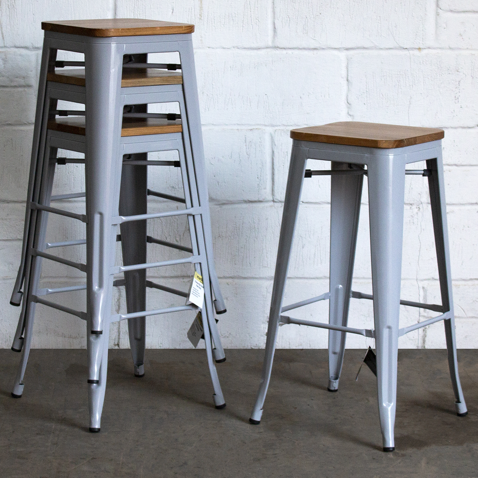 Fabulous Details About Set Of 4 Pale Grey Metal Industrial Bar Stool Breakfast Kitchen Bistro Tolix New Short Links Chair Design For Home Short Linksinfo