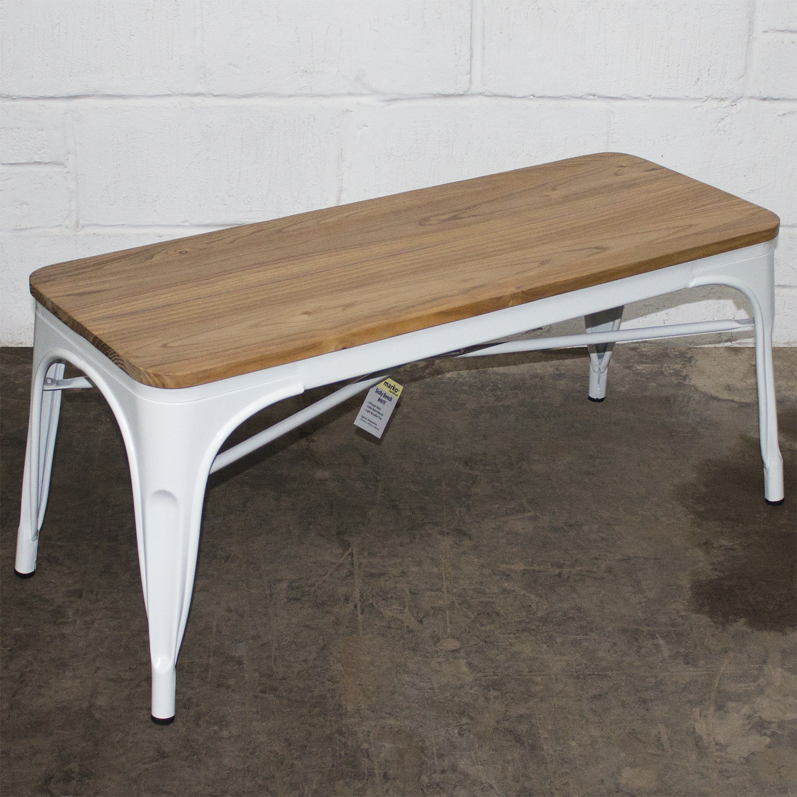 Picture of: White Metal Industrial Bench Wooden Seat Dining Kitchen Living Coffee Table 5055493858268 Ebay