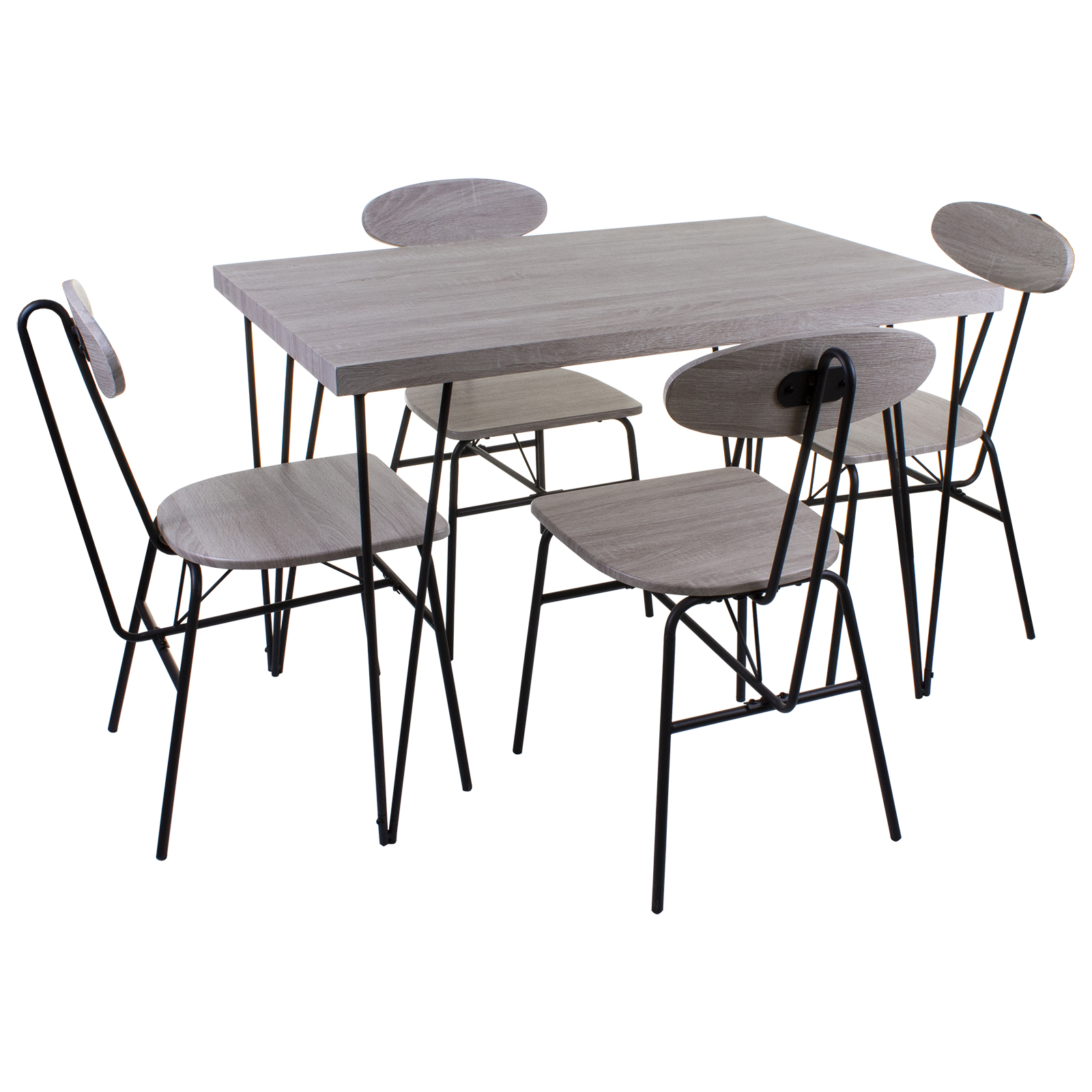 Magnificent Details About 5 Piece Dining Set Ash Grey Wood Effect Table Chairs Kitchen Home Furniture Download Free Architecture Designs Rallybritishbridgeorg