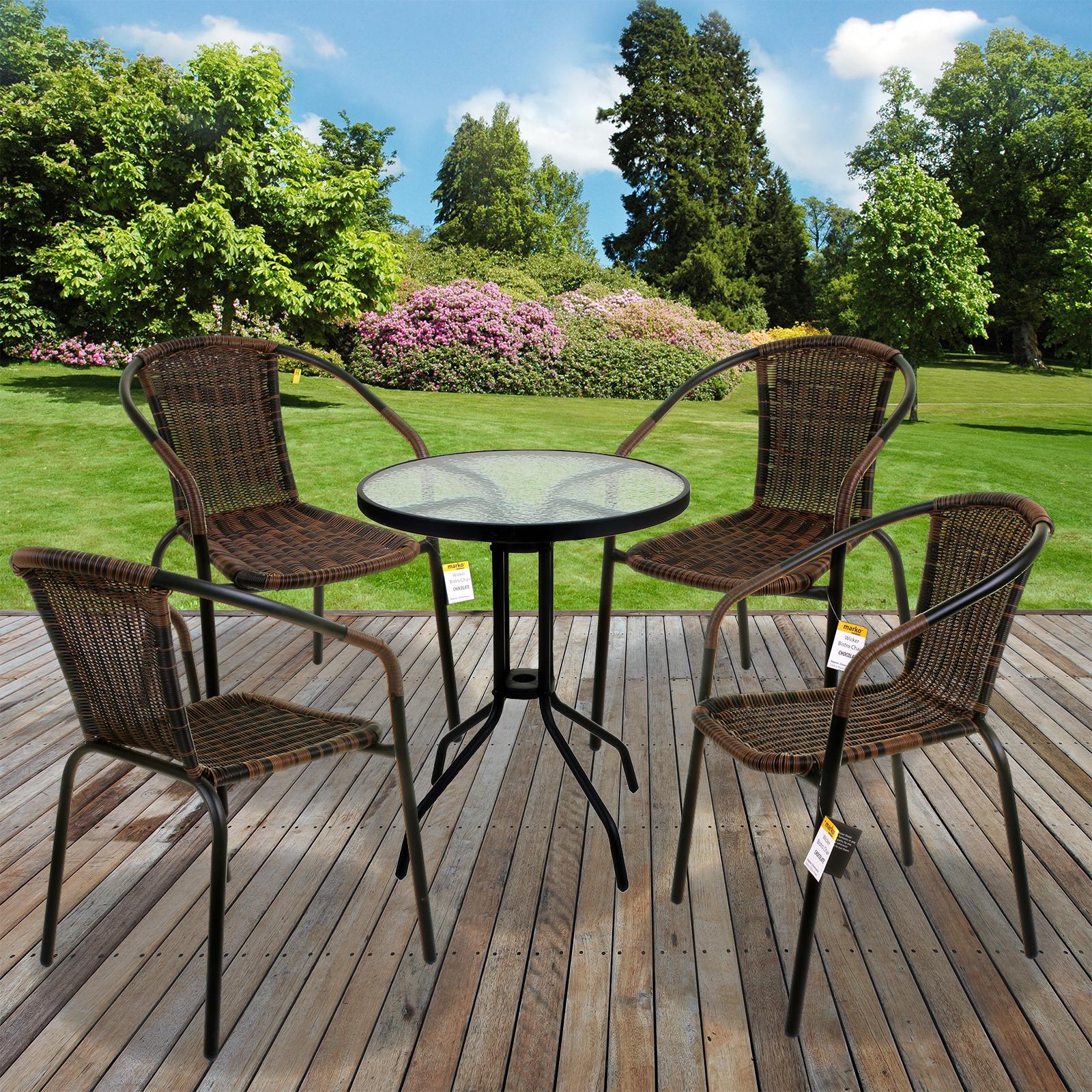 Details About 5 Piece Garden Patio Chocolate Wicker Bistro Set Outdoor Furniture Seating