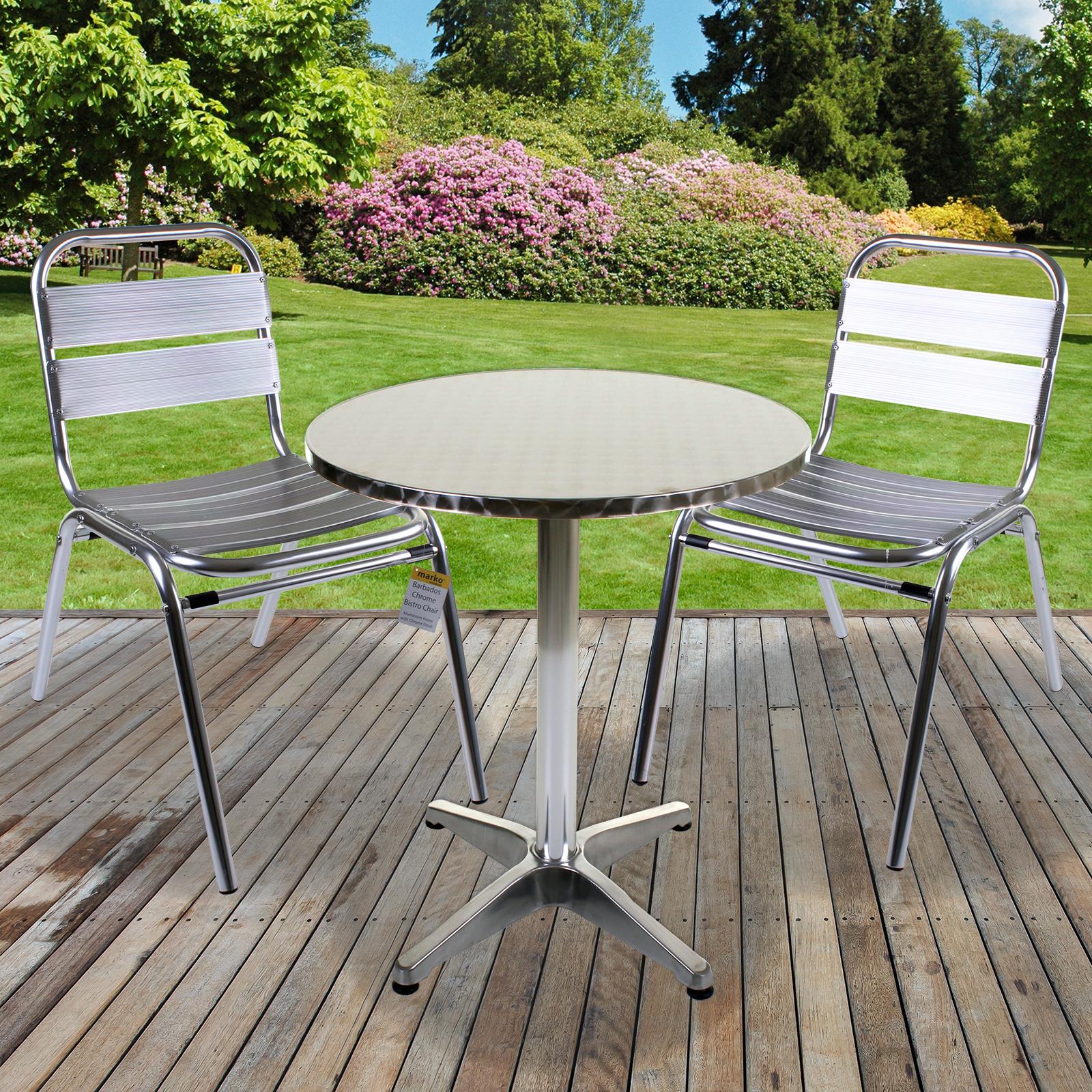 3PC Bistro Set Aluminium Lightweight Chrome Outdoor Garden Patio Furniture Metal