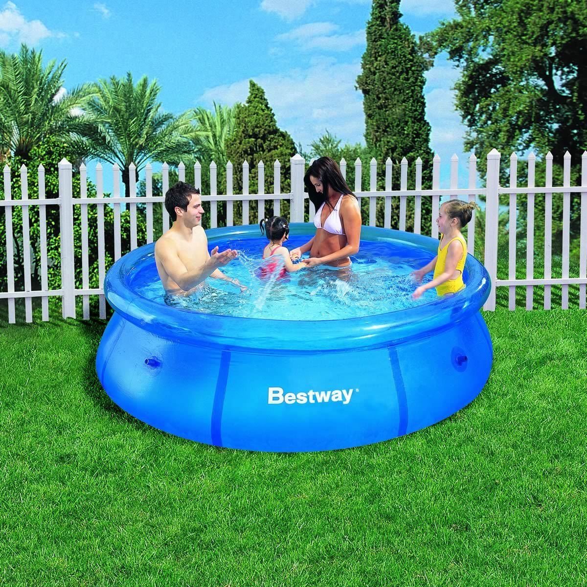 Details about 8FT Fast Set Inflatable Swimming Pool Garden Outdoor Paddling  Kids Family Water