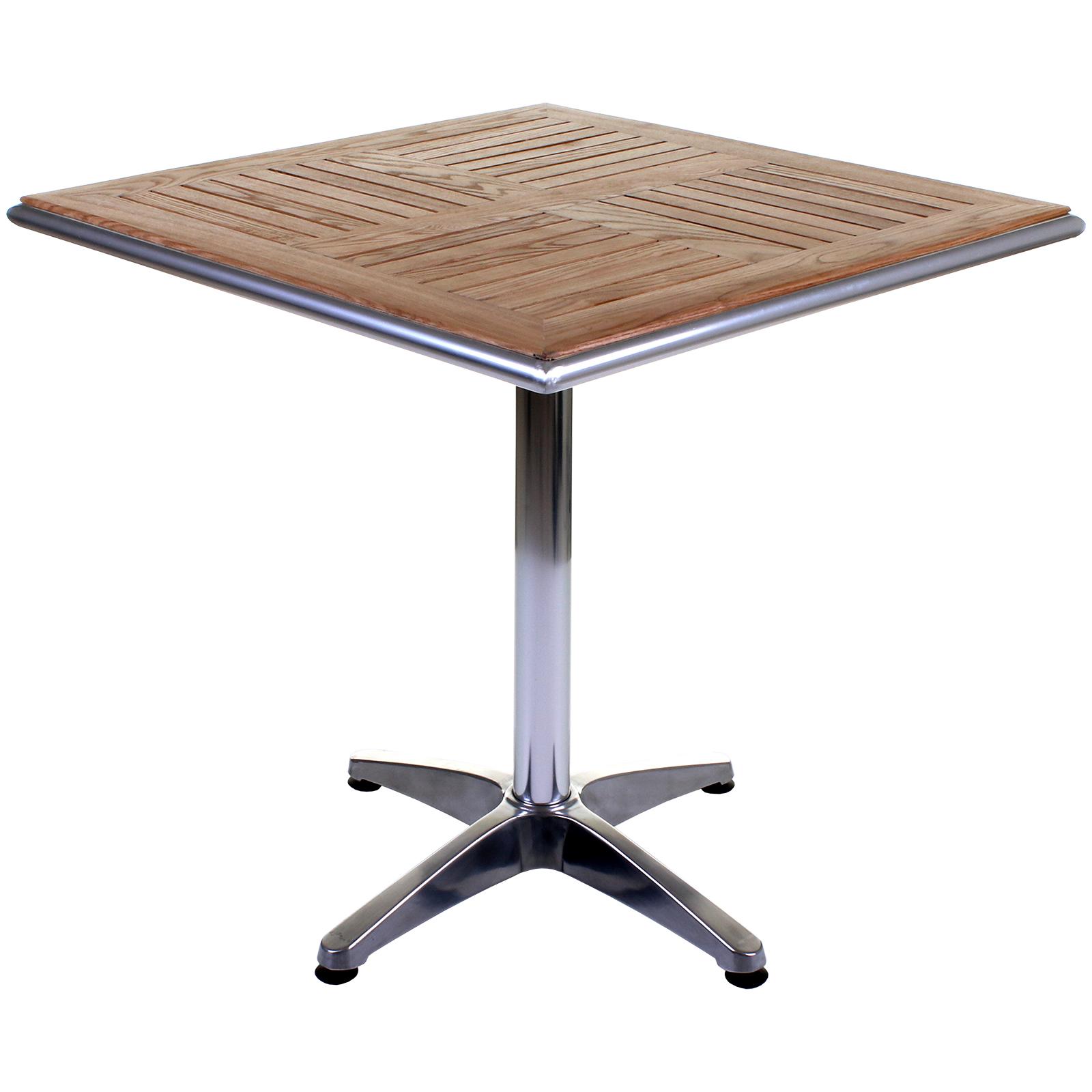 Chrome Bistro Sets Aluminium Outdoor Garden Cafe Furniture Ash Wood Square Table