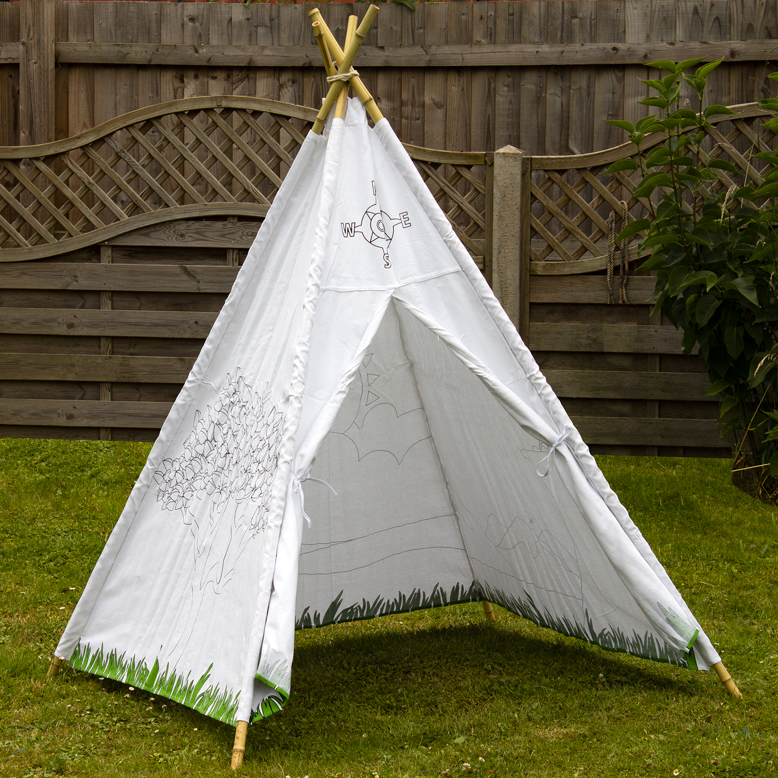 competitive price af1c8 b024d Details about COMPASS TEEPEE TENT OUTDOOR GARDEN KIDS PLAY INDOOR NATURAL  BAMBOO POLES CANVAS