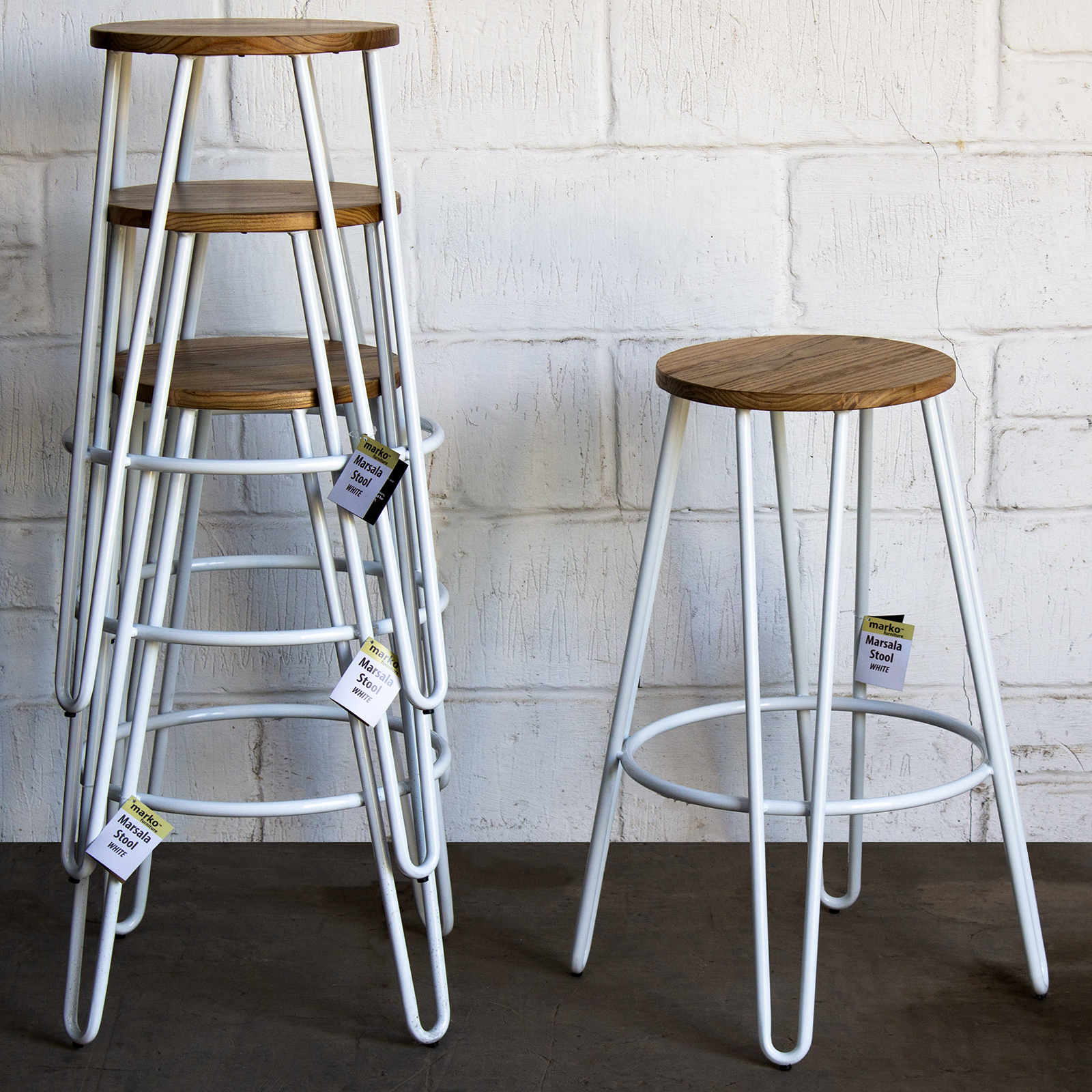 Fantastic Details About Bar Stool White Metal Hairpin Legs Round Light Wood Seat Rustic Industrial Cafe Gmtry Best Dining Table And Chair Ideas Images Gmtryco