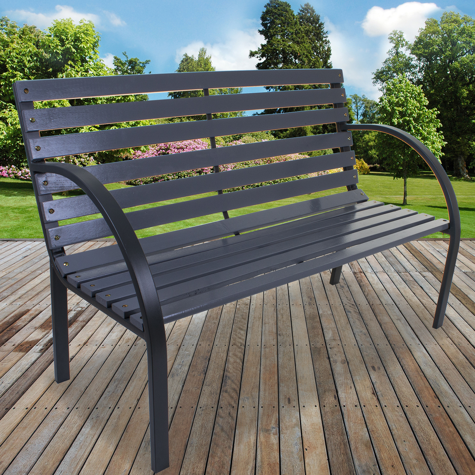 Wondrous Details About Garden Bench Seat Outdoor Seating Grey Slatted Patio Furniture Metal Frame Wood Ncnpc Chair Design For Home Ncnpcorg