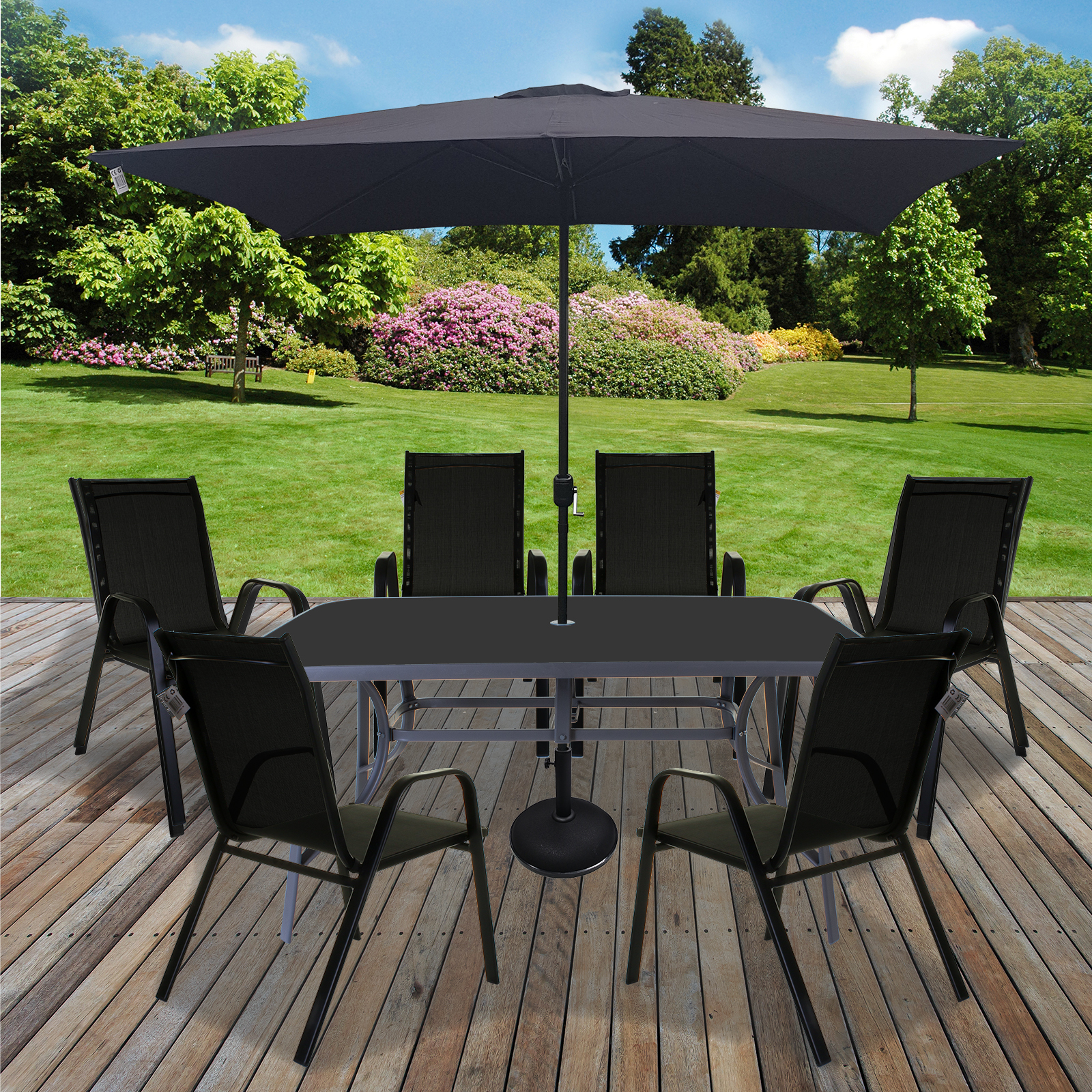 Details about Table & Chairs Set Outdoor Garden Patio Black Furniture Glass  Table Parasol Base