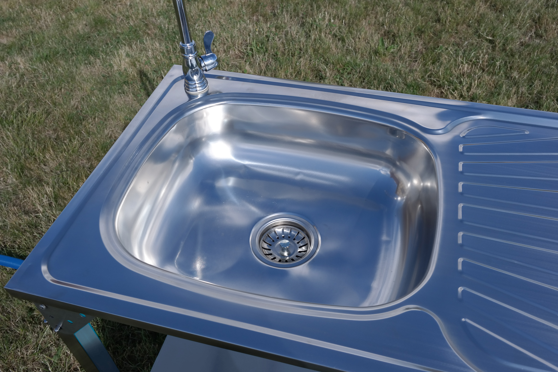 CAMPING SINK OUTDOOR KITCHEN STAINLESS STEEL DRAINING BOARD UNIT TAP ...