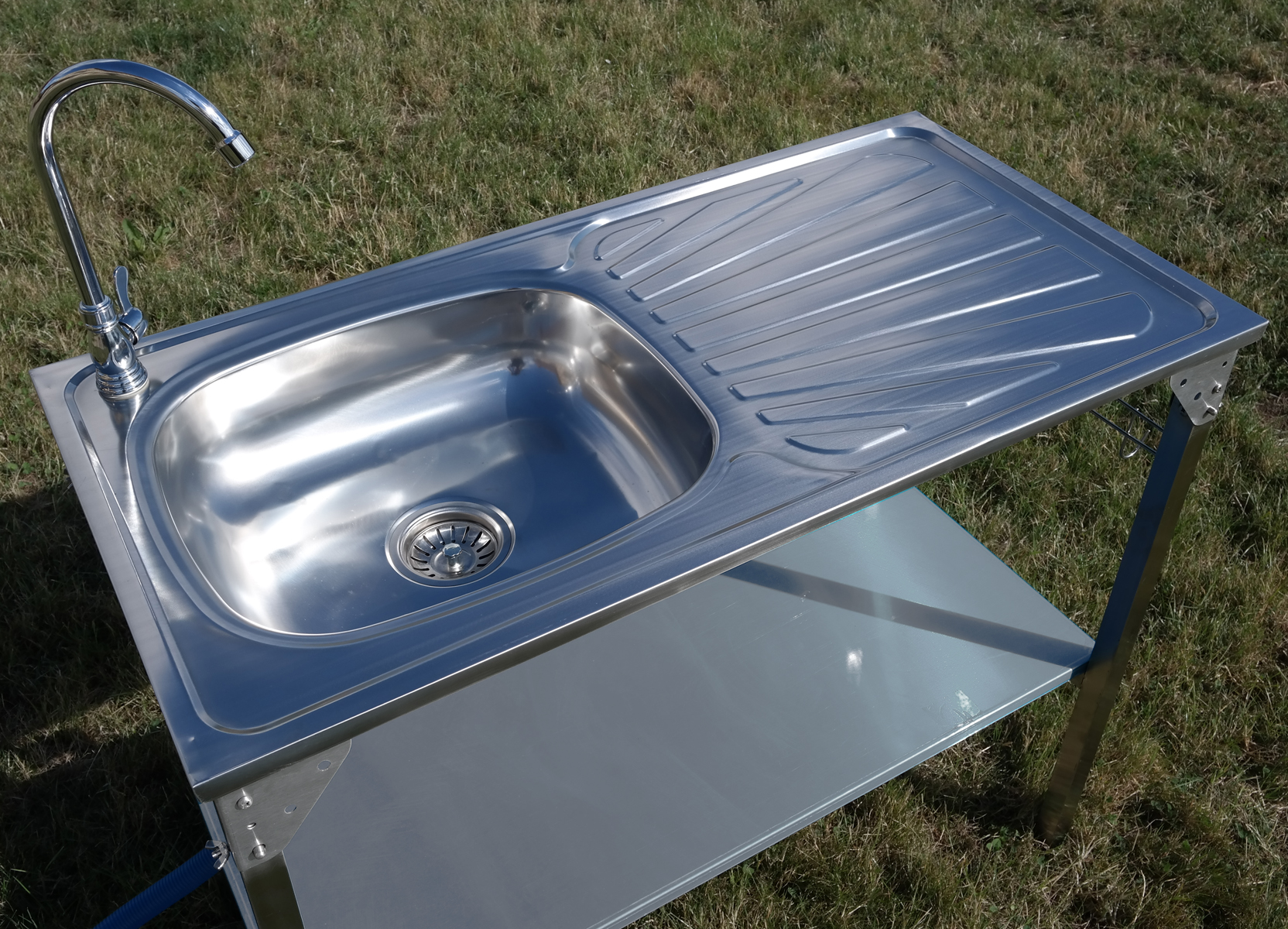 CAMPING SINK OUTDOOR KITCHEN STAINLESS STEEL DRAINING ... on Outdoor Patio Sink id=89622