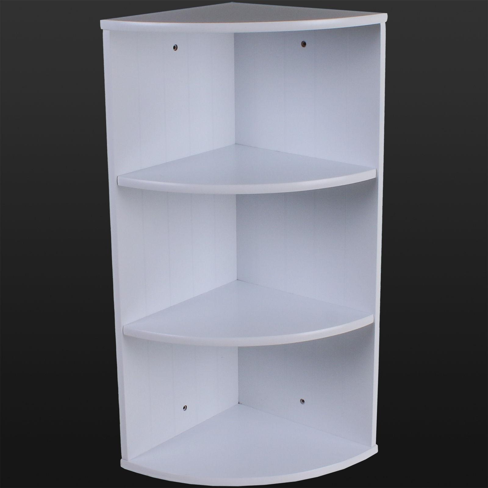 Details About Bathroom Corner Shelving Storage Unit Wooden Shelves White Wall Mountable Unit