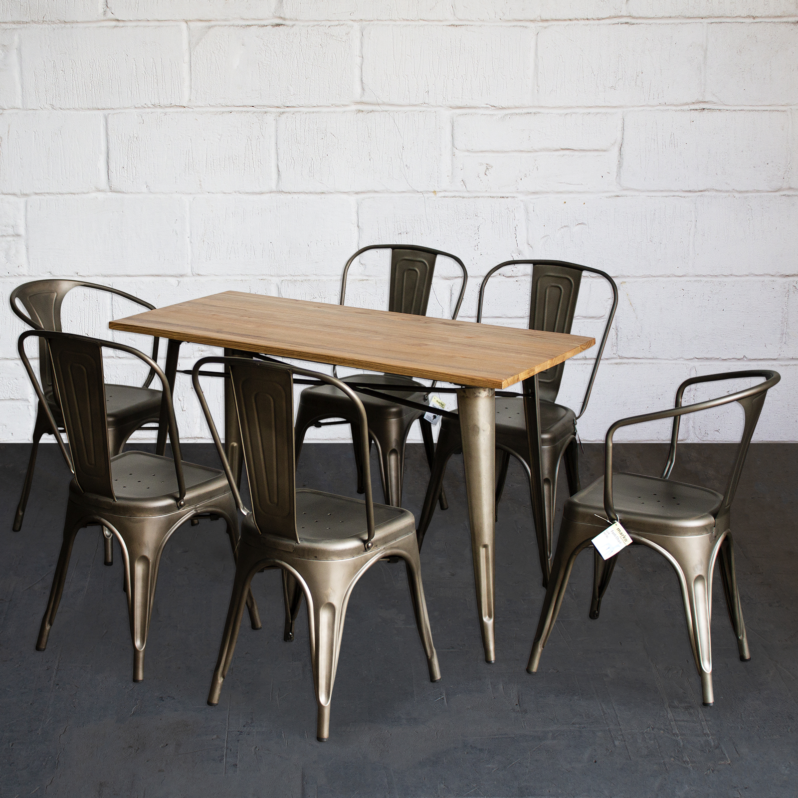 Details About Tolix Style Dining Sets Rectangular Table Chairs Gun Metal Grey Pub Restaurant