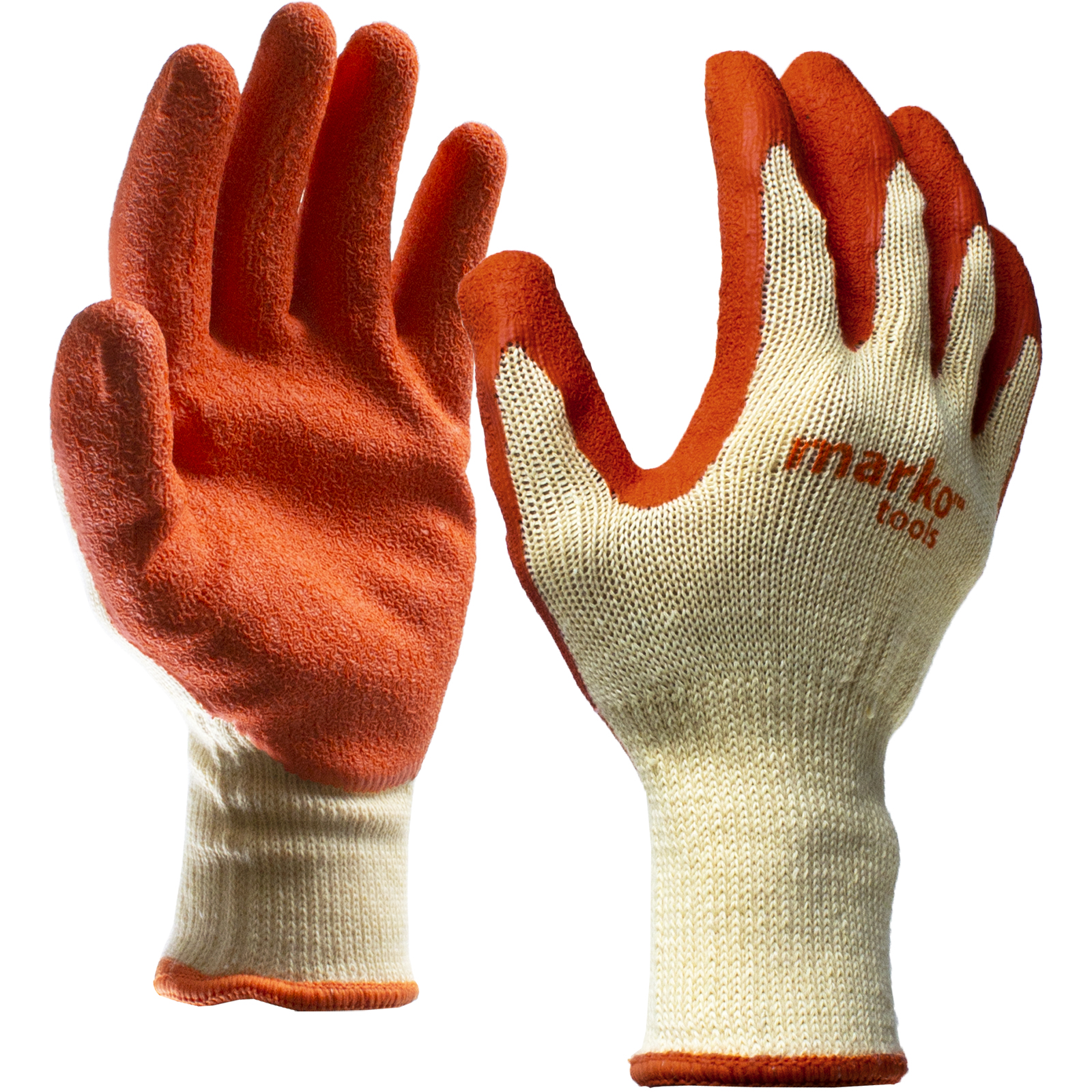 24 Pairs Latex Coated Orange Rubber Work Gloves Mens Safety Builders Gardening Large