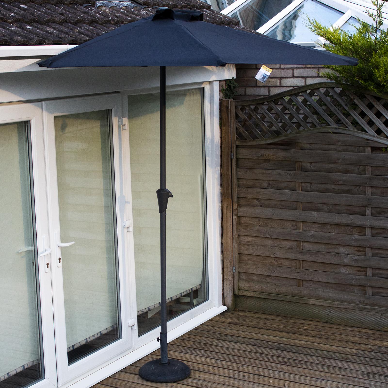 Details about 2 7M Half Round Parasols Umbrella Balcony Sunshade Outdoor  Garden Black Cream