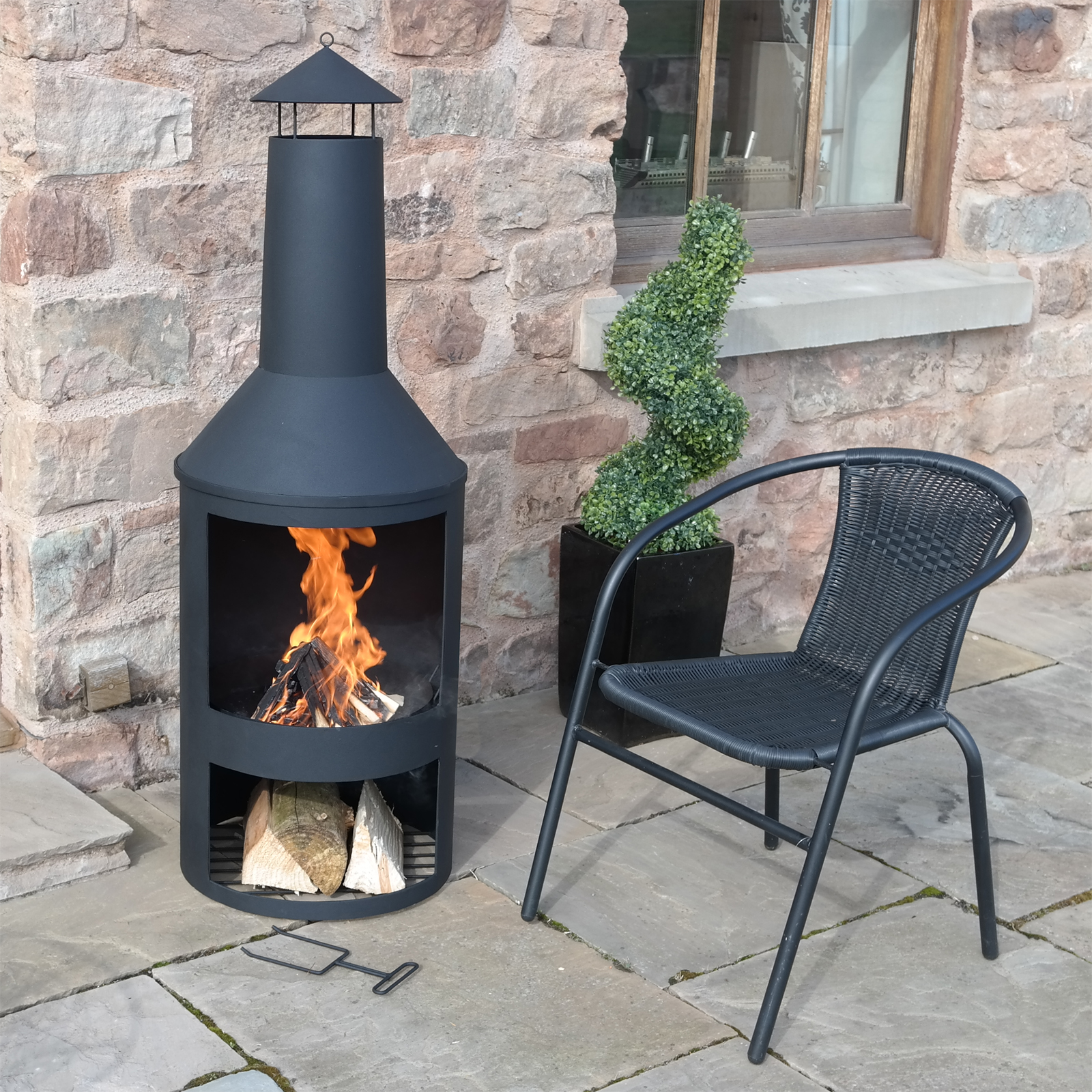 "Chiminea Burner: 4FT 4"" EXTRA LARGE CHIMENEA BLACK FIRE PIT BURNER PATIO"