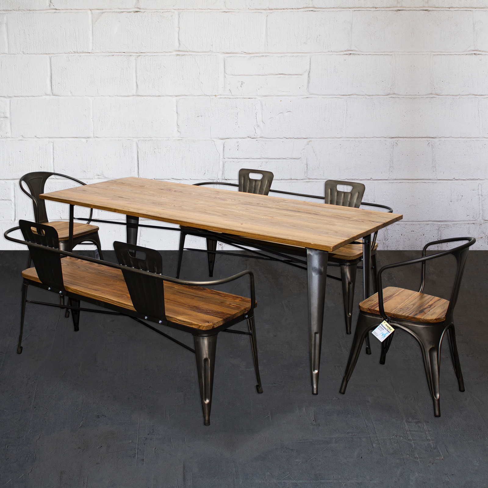 Fine Details About 5Pc Dining Set Table Chair Bench Kitchen Home Restaurant Dine Metal Wood Tolix Alphanode Cool Chair Designs And Ideas Alphanodeonline