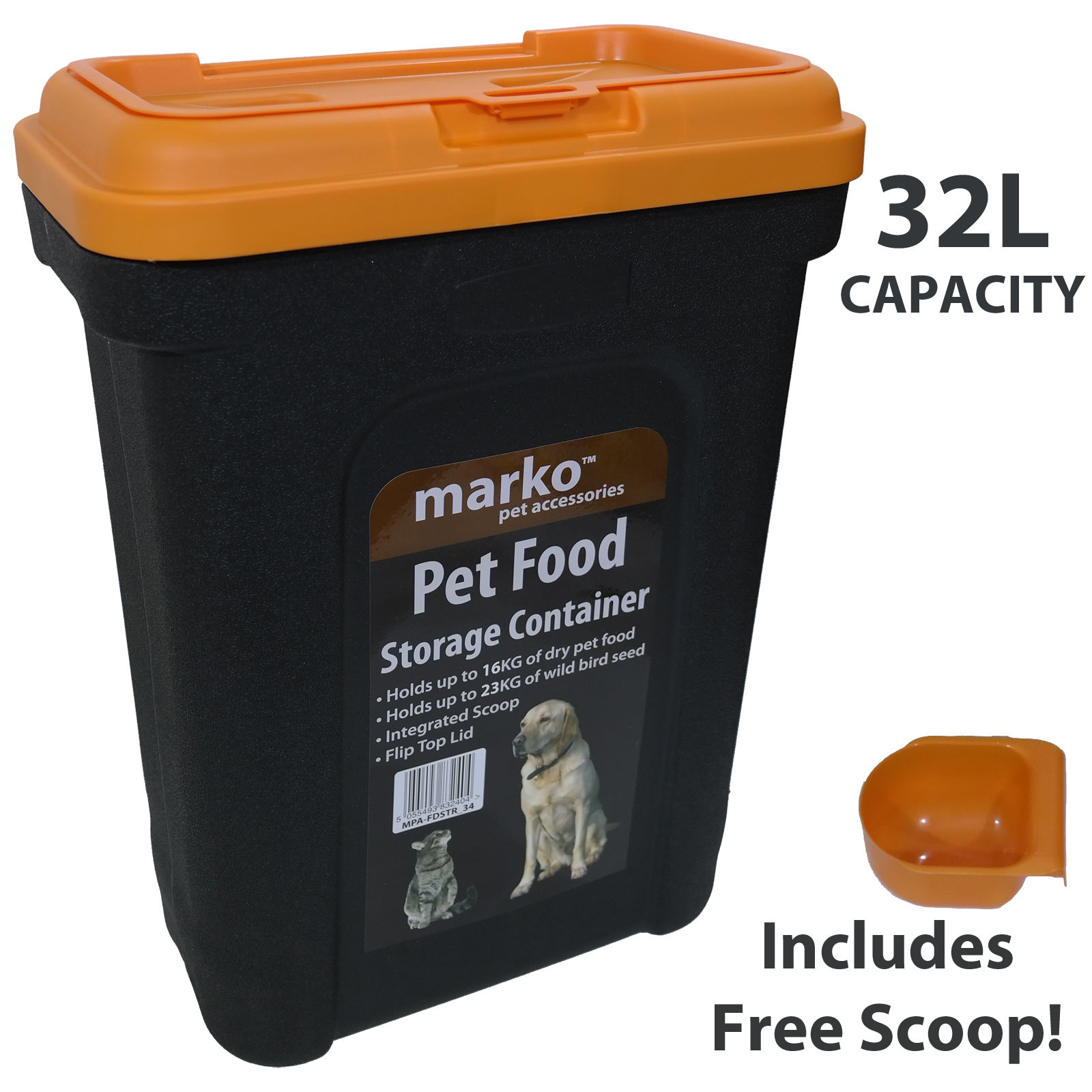 32l Large Pet Food Container Dog Cat Animal Storage Bin 16kg Dry