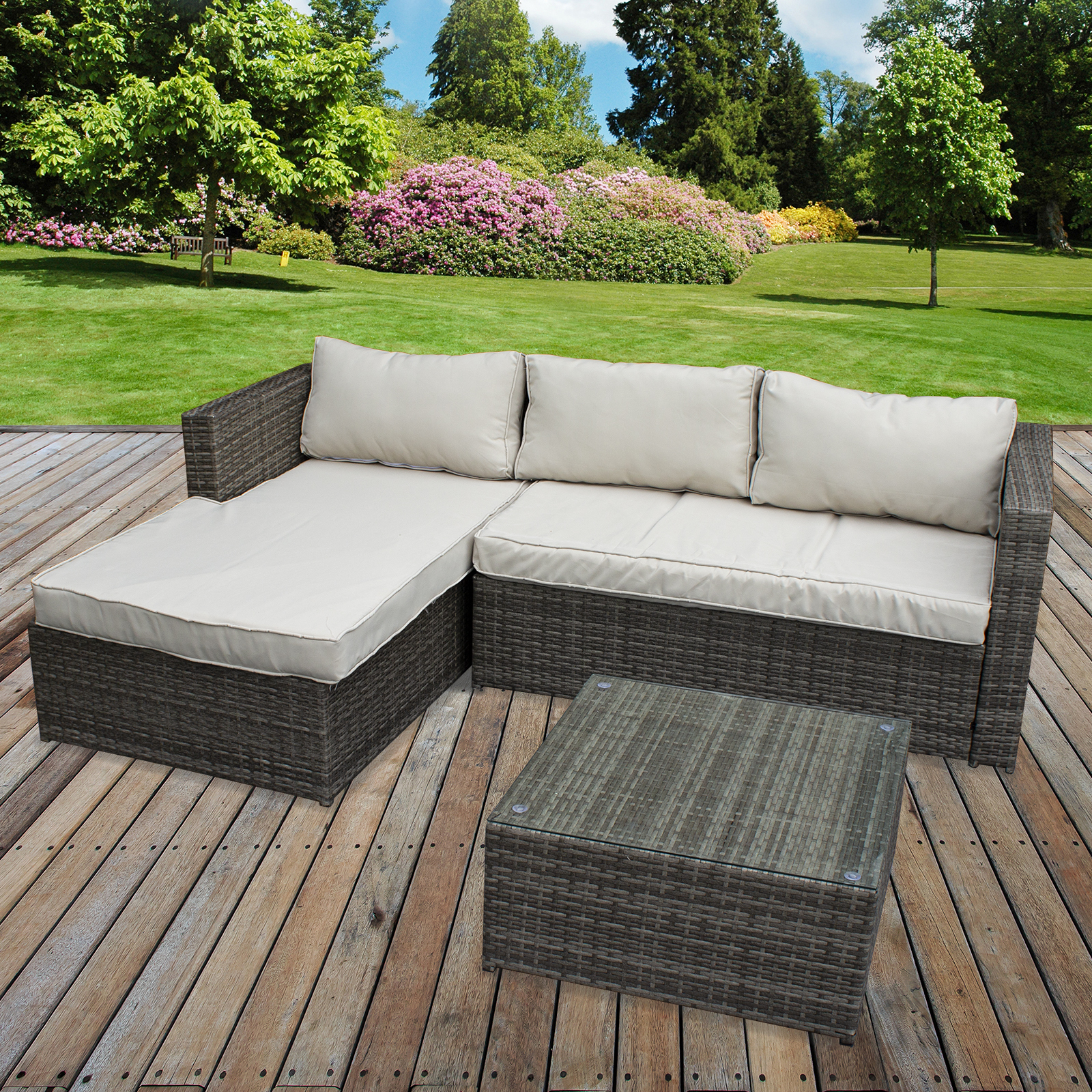 Details About Rattan Sofa Set Garden Corner L Shaped Outdoor Patio Furniture Seating Table