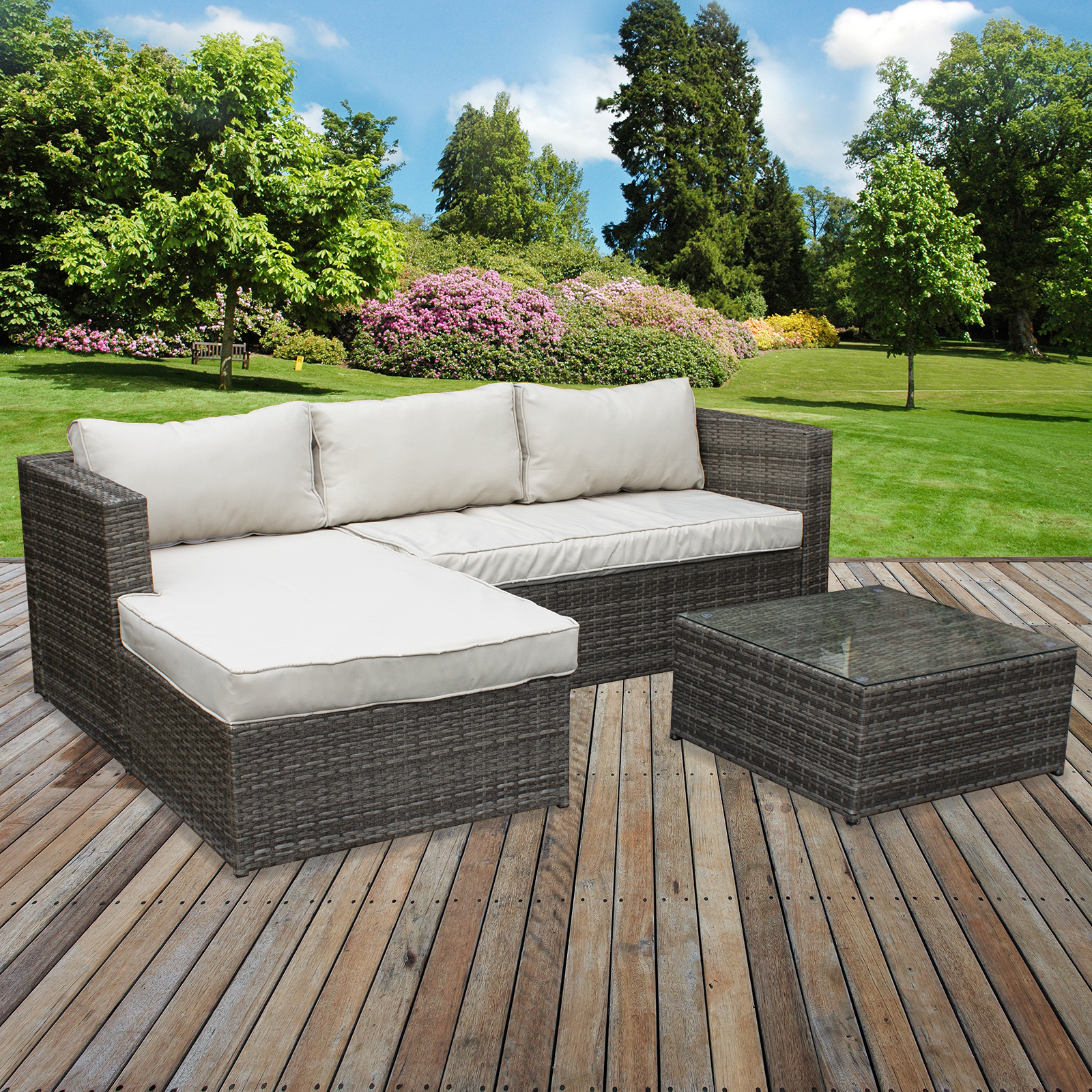 Details about RATTAN SOFA SET GARDEN CORNER L SHAPED OUTDOOR PATIO  FURNITURE SET SEATING TABLE