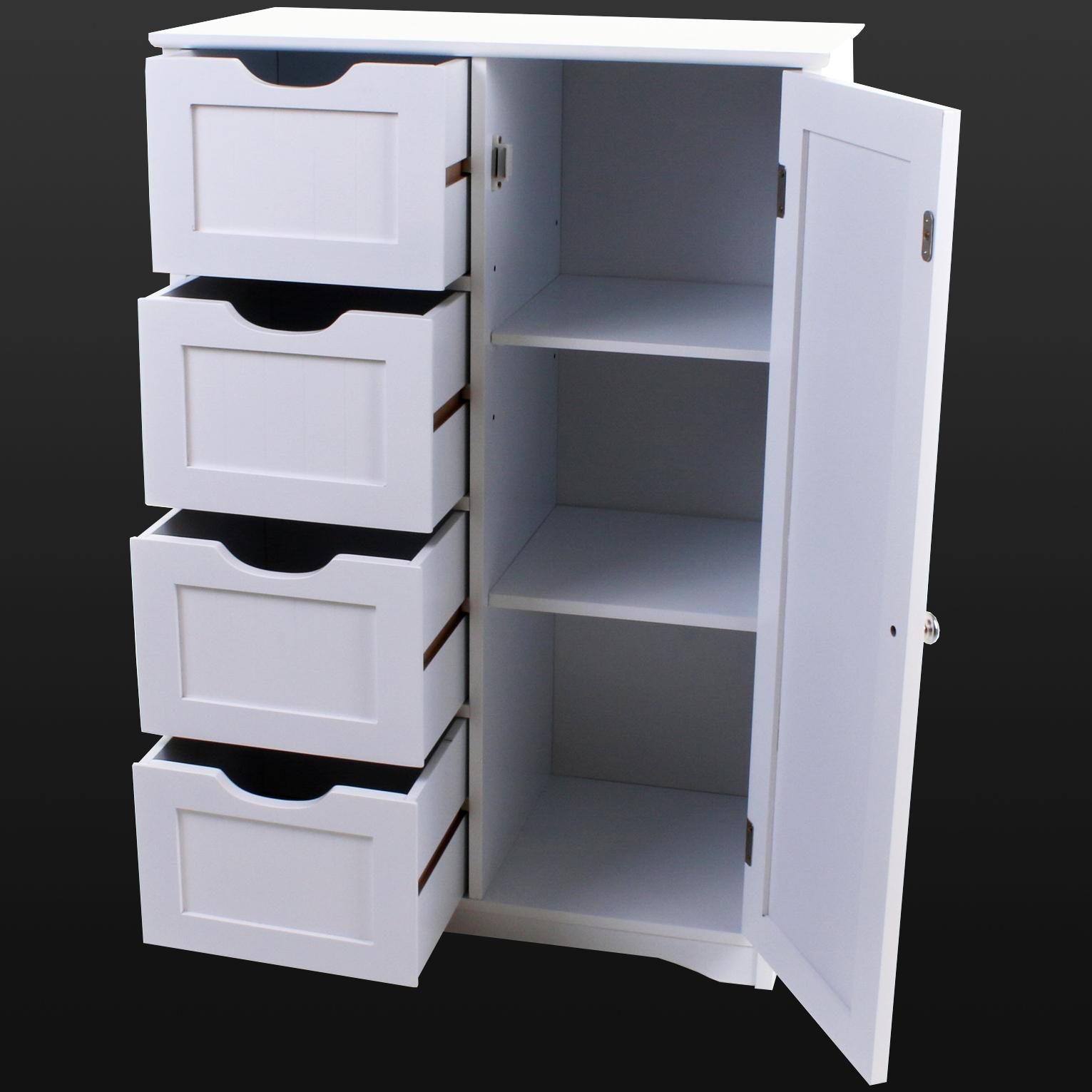 4 Drawer Bathroom Cabinet Storage Unit Wooden Chest