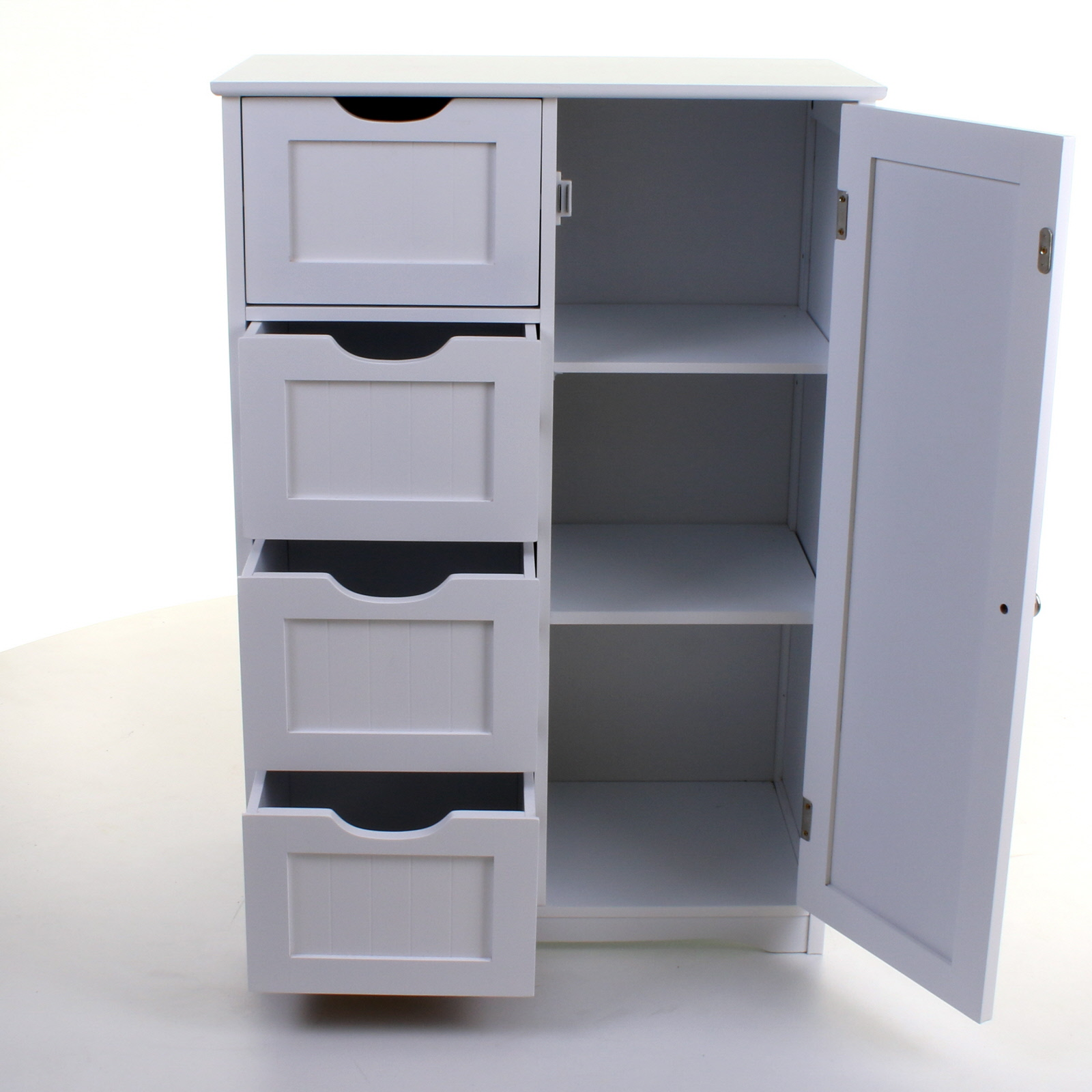 White Wooden Bathroom Cabinet Storage Unit Cupboards Drawers Doors