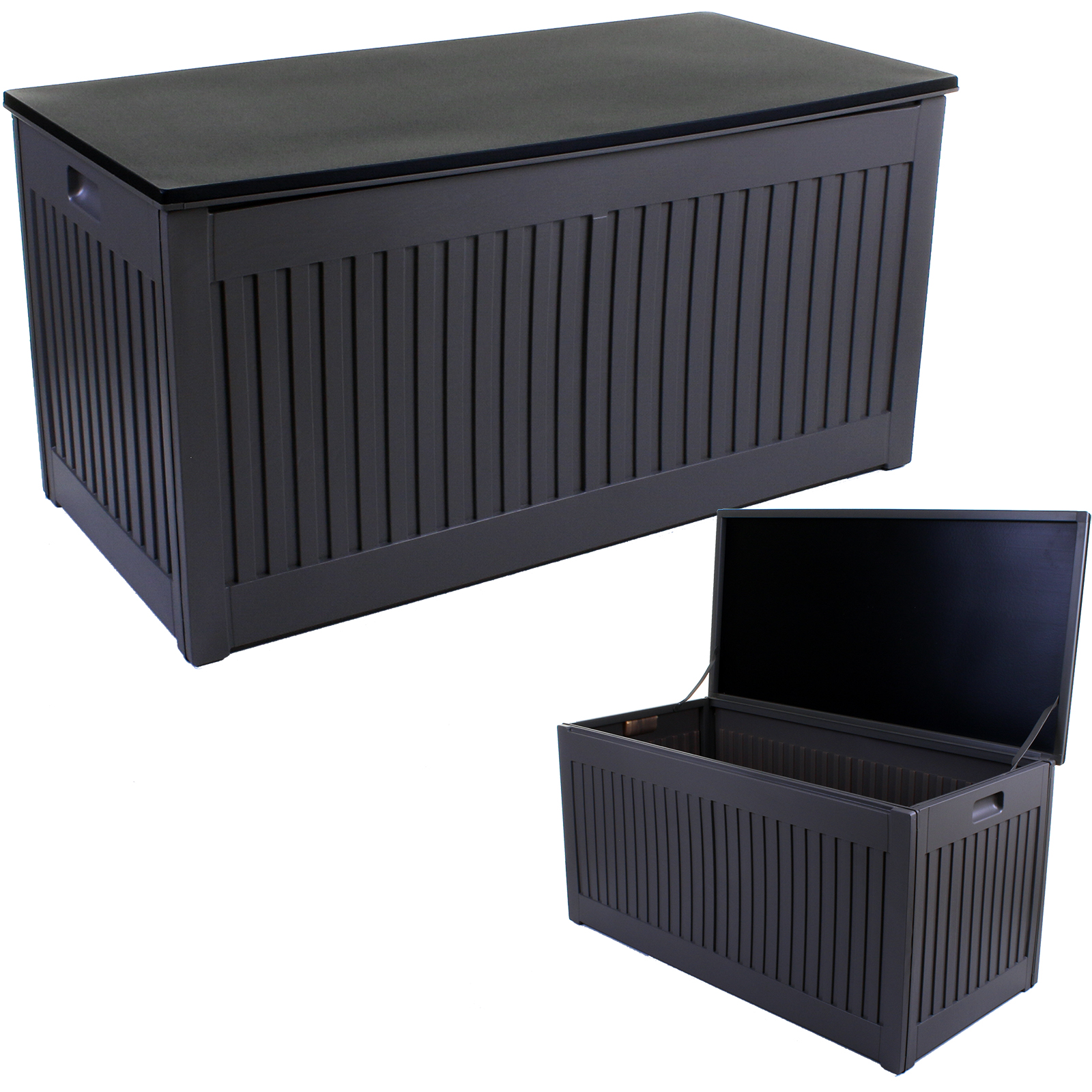 Details About 270l Outdoor Garden Storage Box Plastic Utility Chest Cushions Toys Furniture
