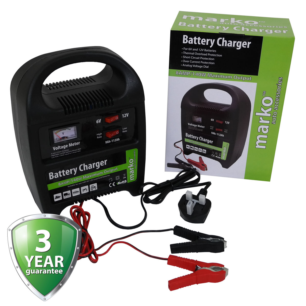 Details About 8amp 6v 12v Heavy Duty Vehicle Battery Charger Car Van Compact Portable Electric