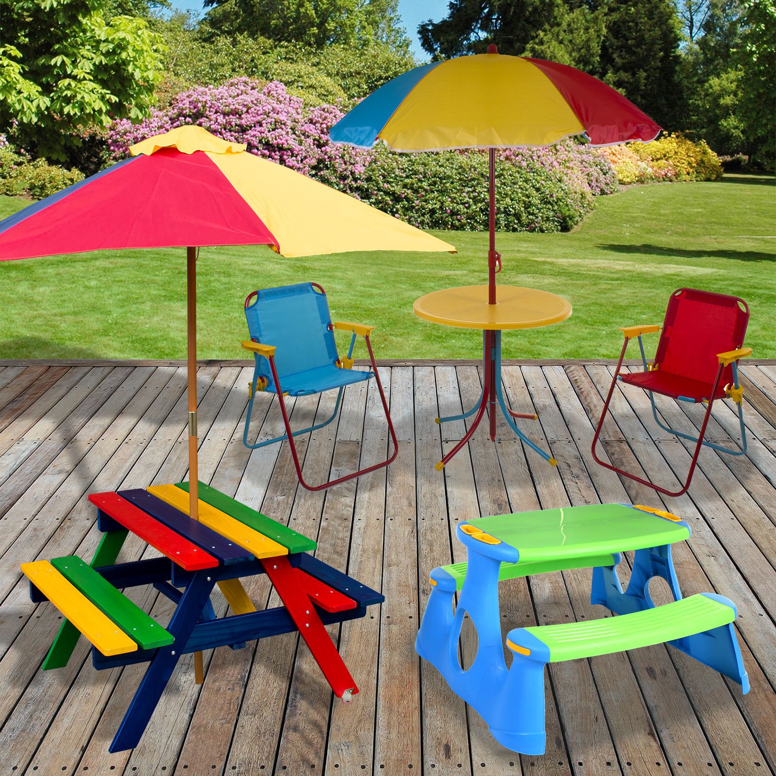Details about Kids Childrens Picnic Bench Table Outdoor Garden Furniture  Plastic Wood Parasol