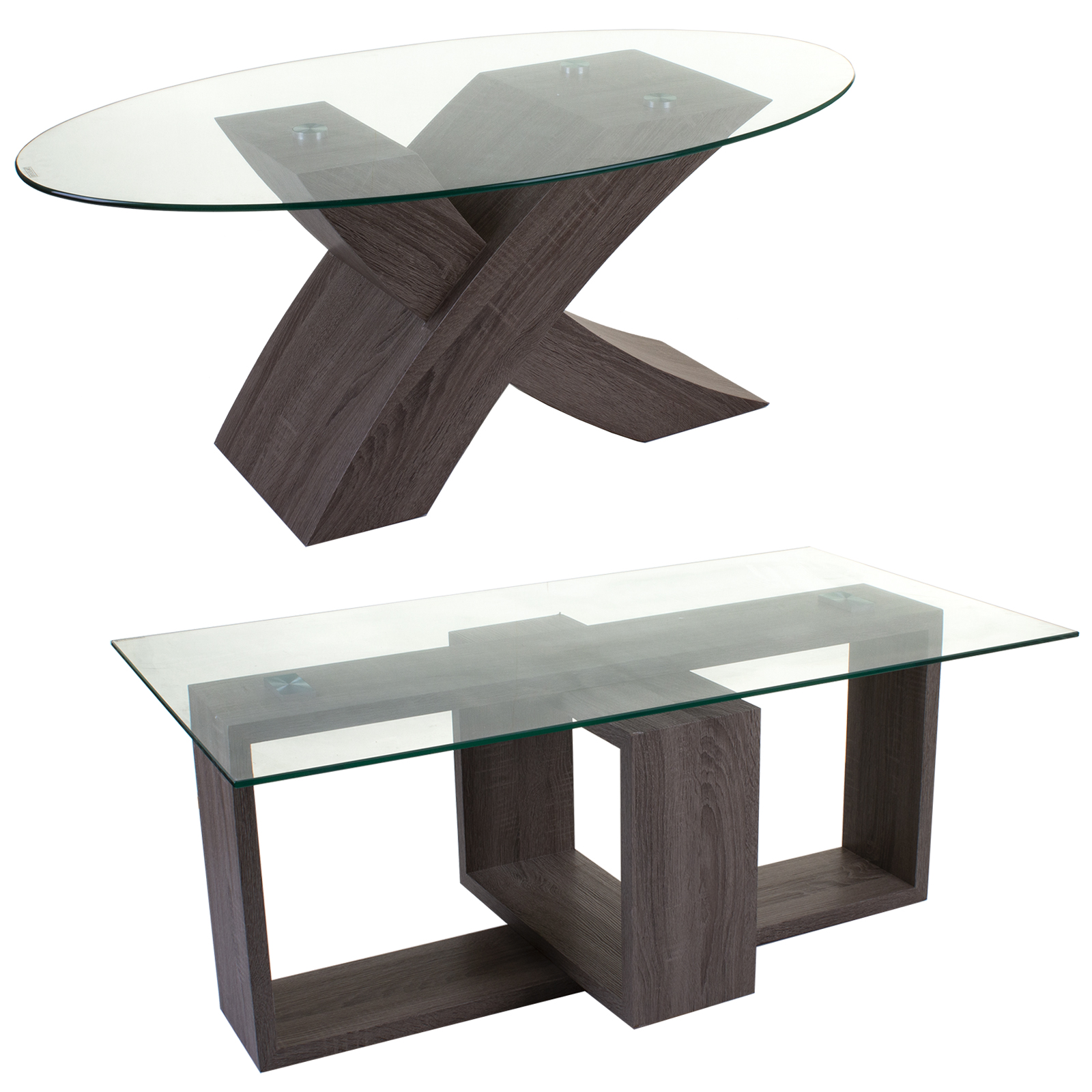 Tempered Glass Wood Coffee Table Living Room Furniture Modern