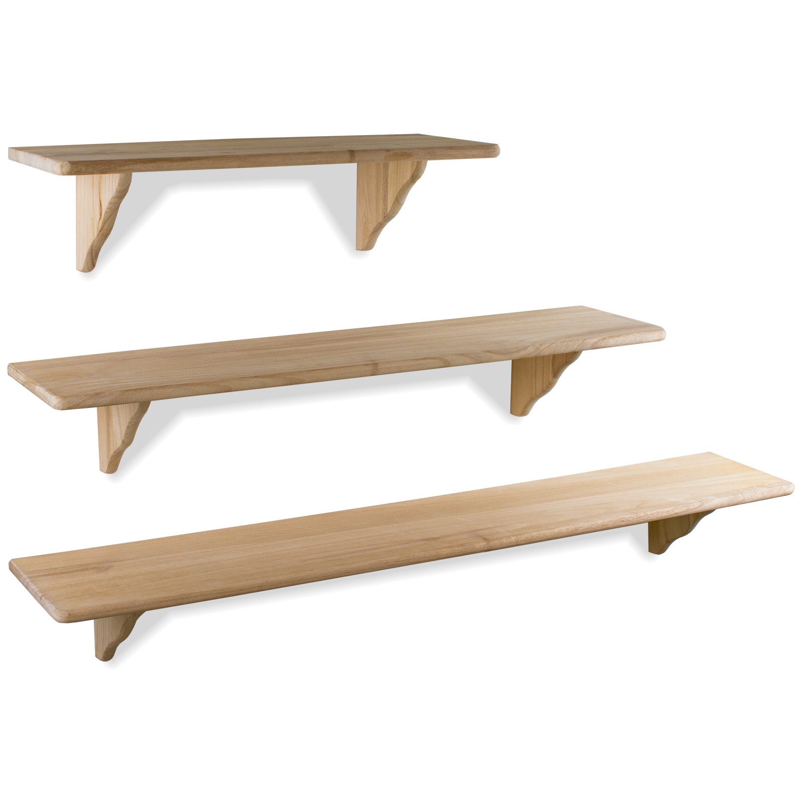 Marko Storage Solutions 16mm Natural Wood Wooden Shelf Storage Wall Mounted Pine Floating Shelves Fitting Kit 58.5cm x 19cm