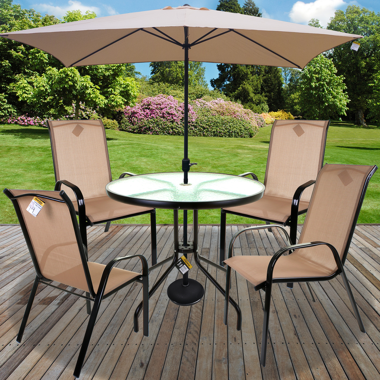 Details About Table Chairs Set Outdoor Garden Patio Cream Furniture Gl Parasol Base