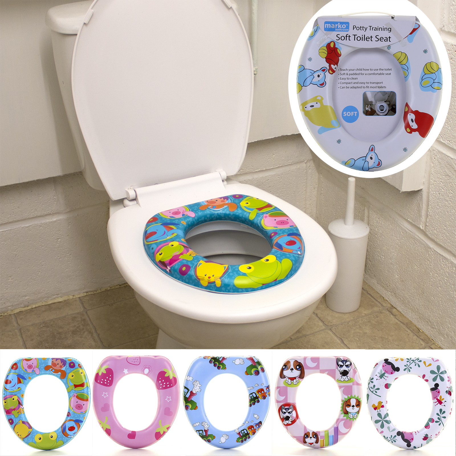 Potty Training Toilet Seat Thick Comfortable Foam Padded Baby