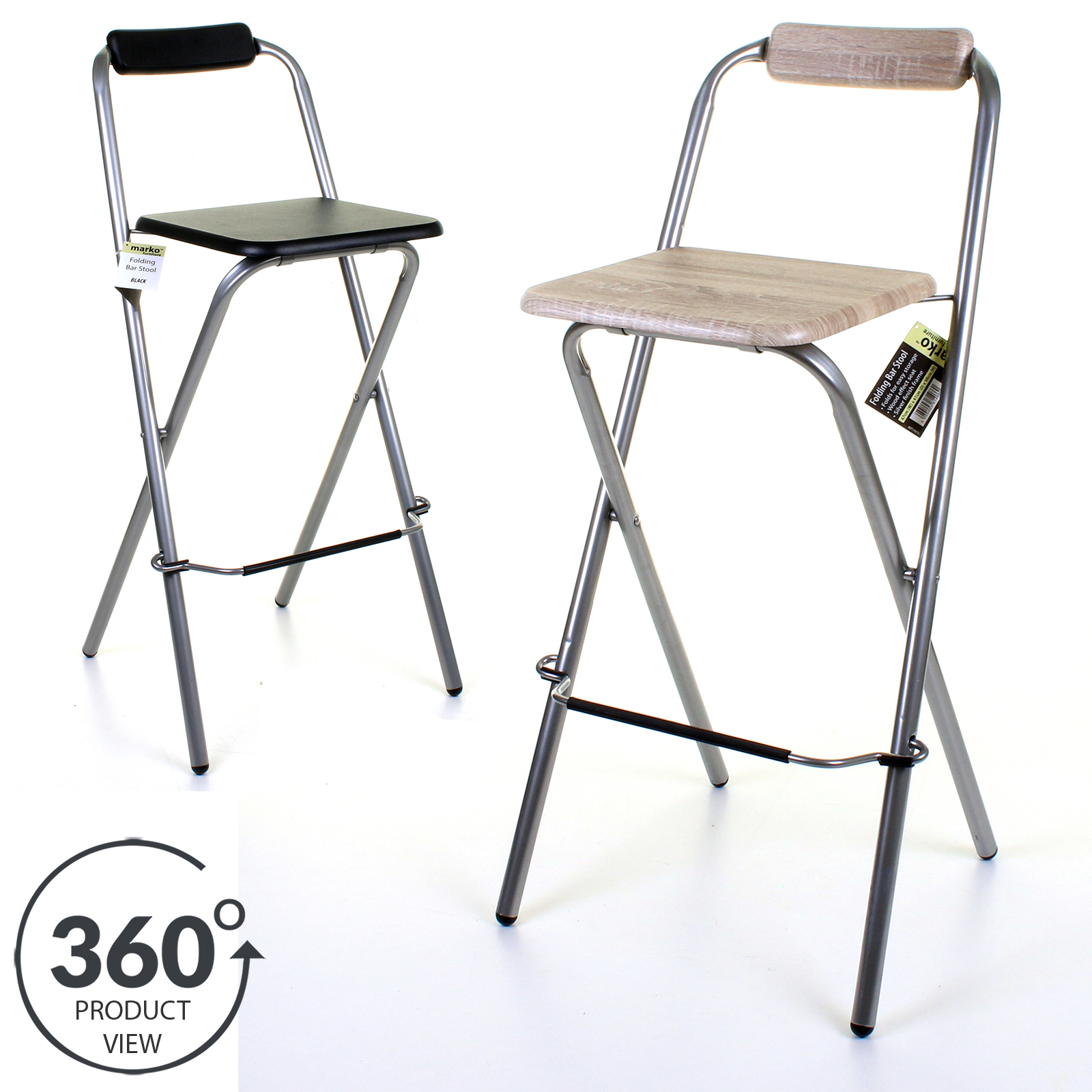 Details About Folding Wooden Bar Stool Chair Breakfast Kitchen Seating Silver Frame Seat Home