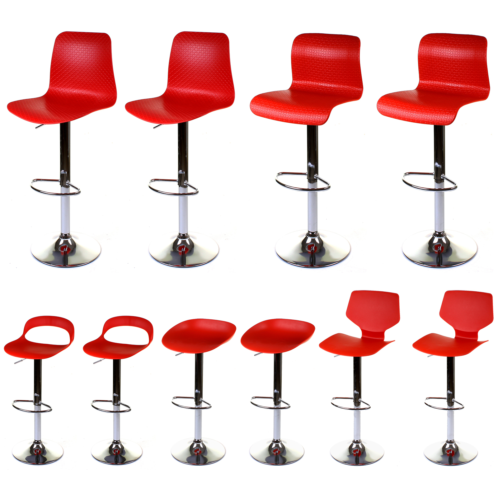 2x Red Bar Stools Chairs Gas Lift Height Adjustable Kitchen