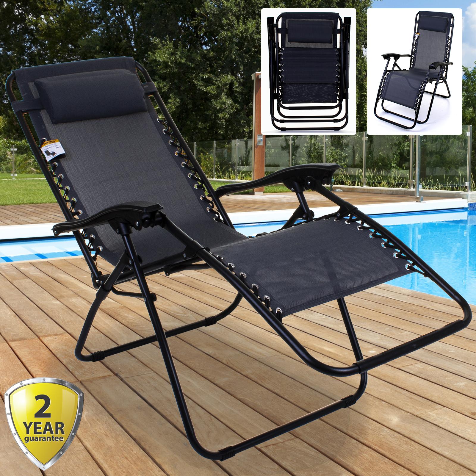Zero Gravity Textoline Reclining Sun Lounger Chair Folding Garden Bed Grey